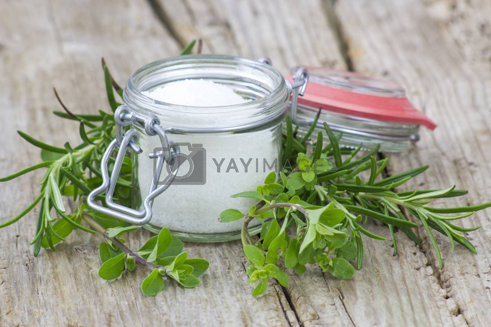 Royalty free image of Healthy sea salt and fresh herbs by miradrozdowski