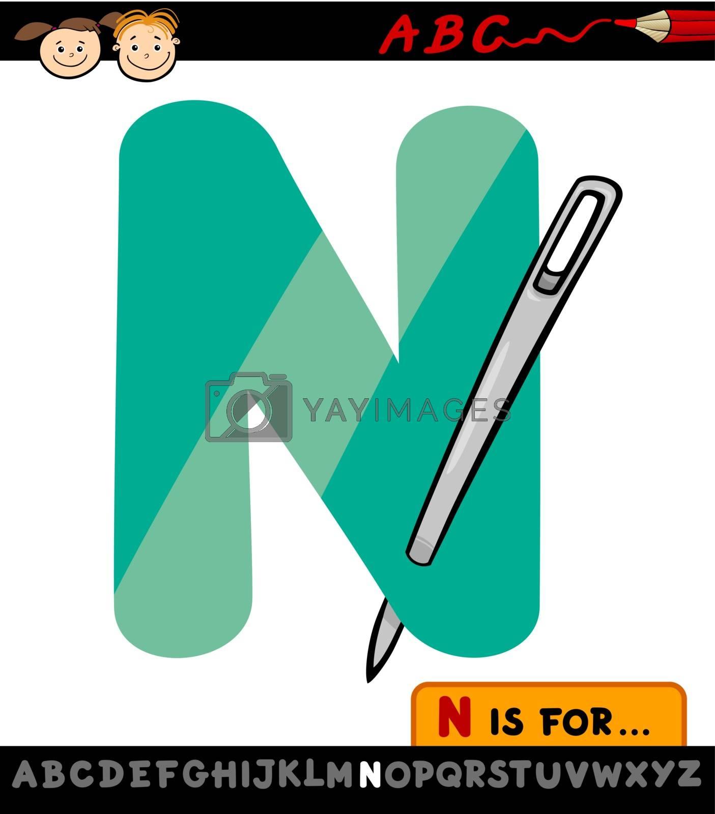 Royalty free image of letter n with needle cartoon illustration by izakowski