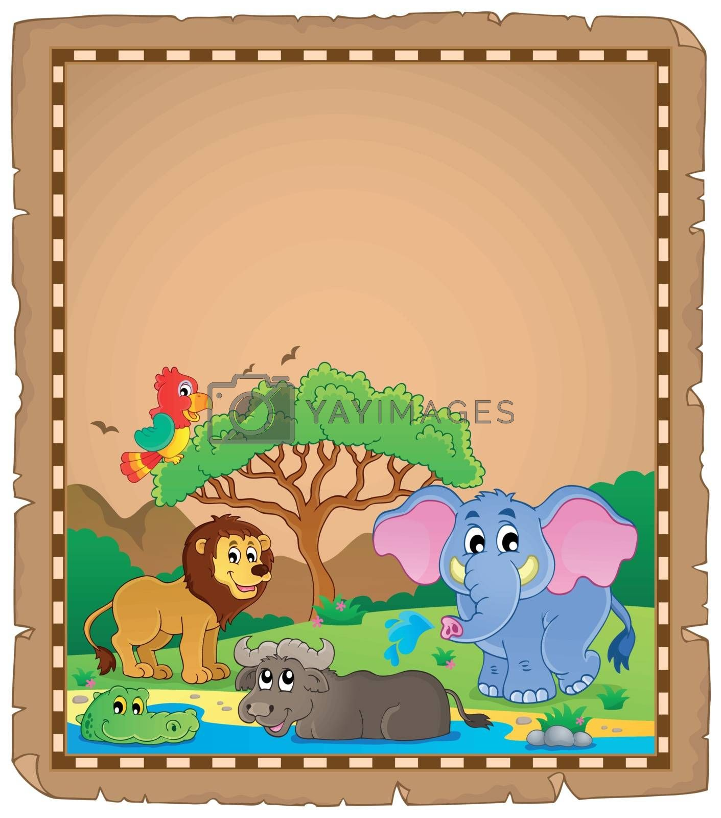 Royalty free image of Parchment with African animals 2 by clairev