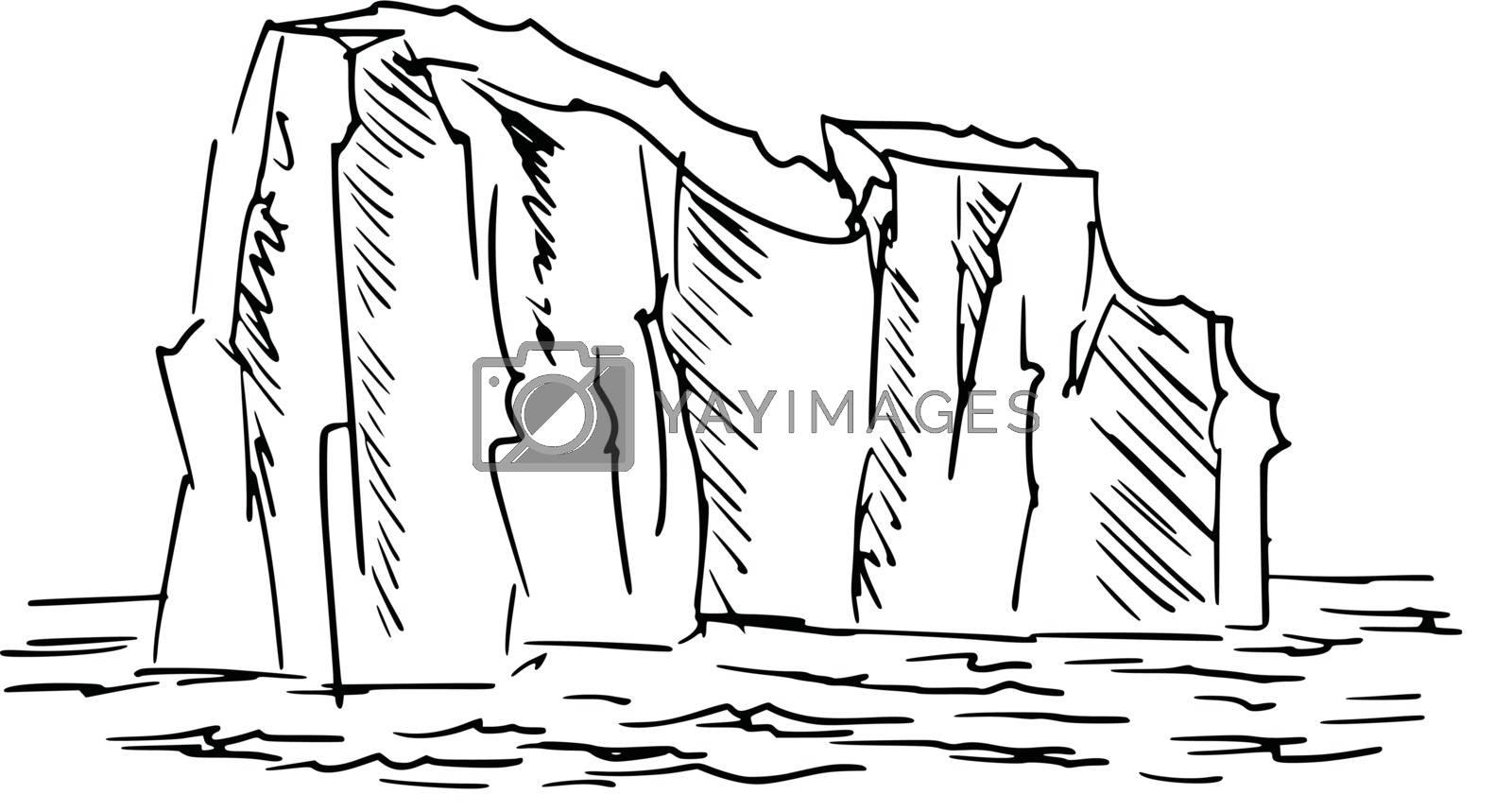 hand drawn, cartoon, sketch illustration of iceberg