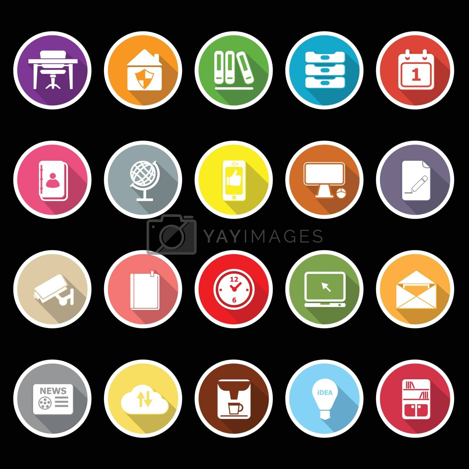 Royalty free image of Home office icons with long shadow by nalinratphi