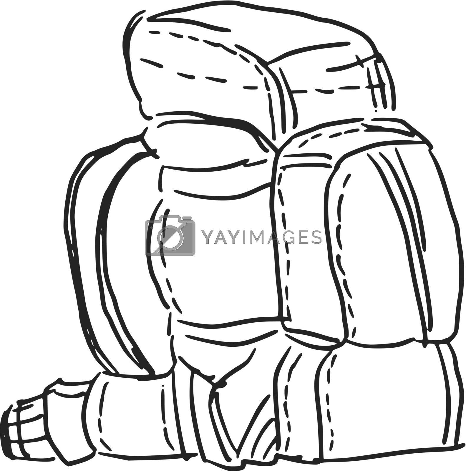 hand drawn, sketch, cartoon illustration of backpack
