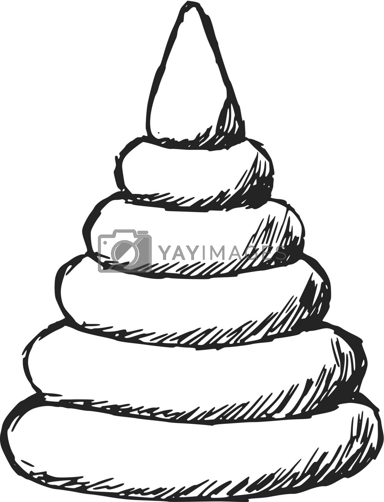 hand drawn, sketch illustration of toy colored pyramid