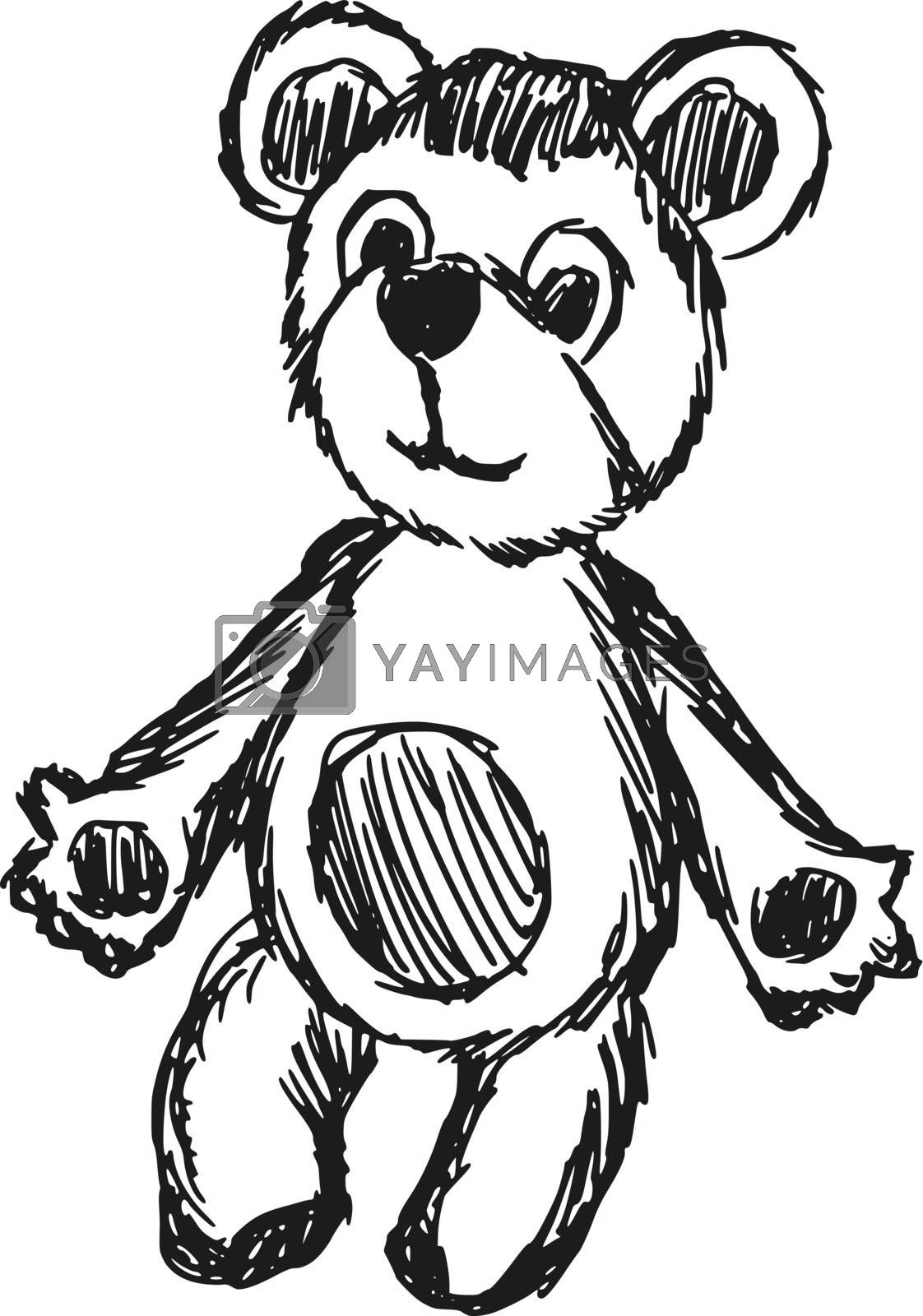 hand drawn, vector, sketch illustration of teddy bear
