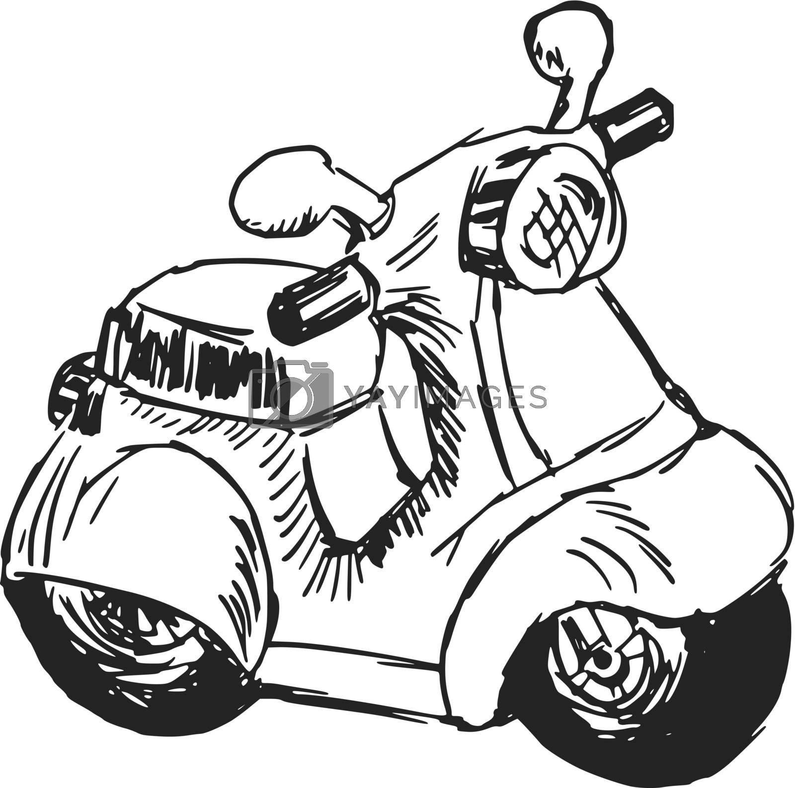 hand drawn, sketch, cartoon illustration of toy scooter