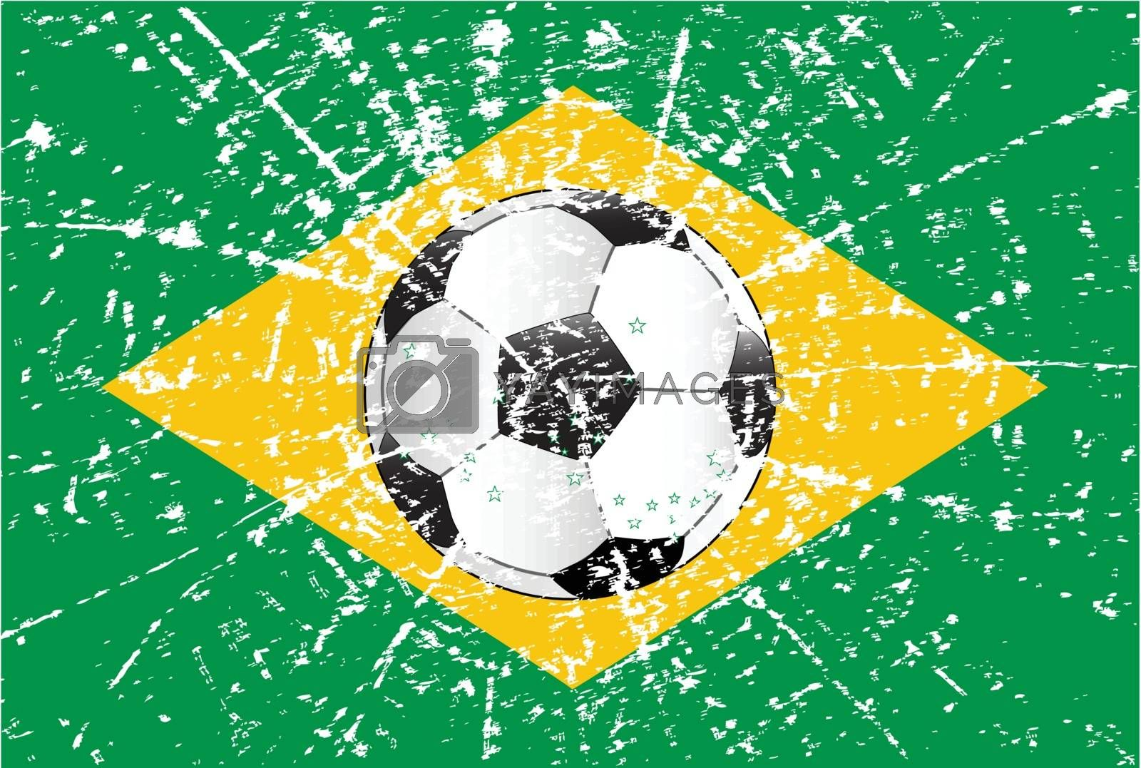 The flag of Brazil with a football
