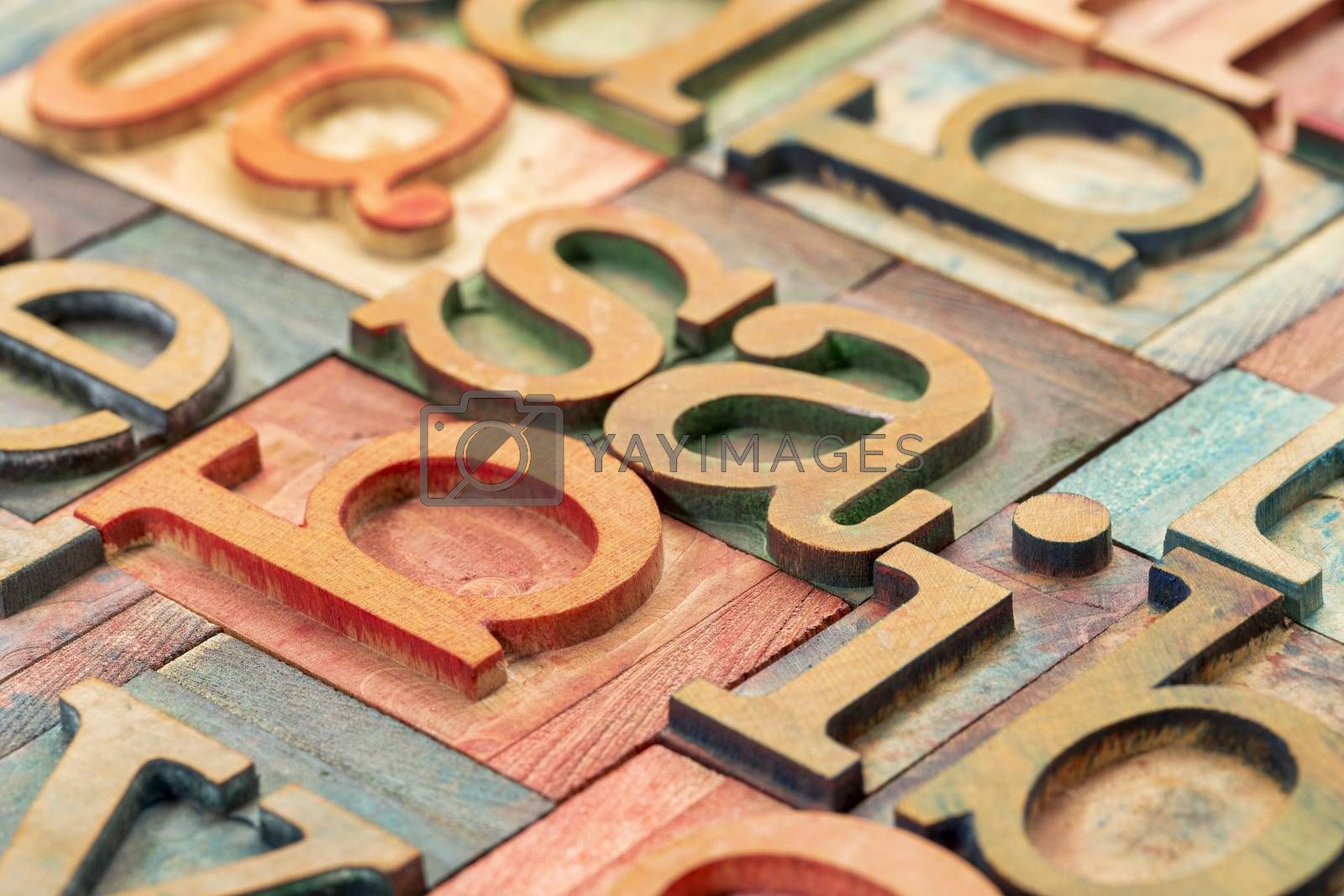 Royalty free image of letterpress wood type abstract by PixelsAway