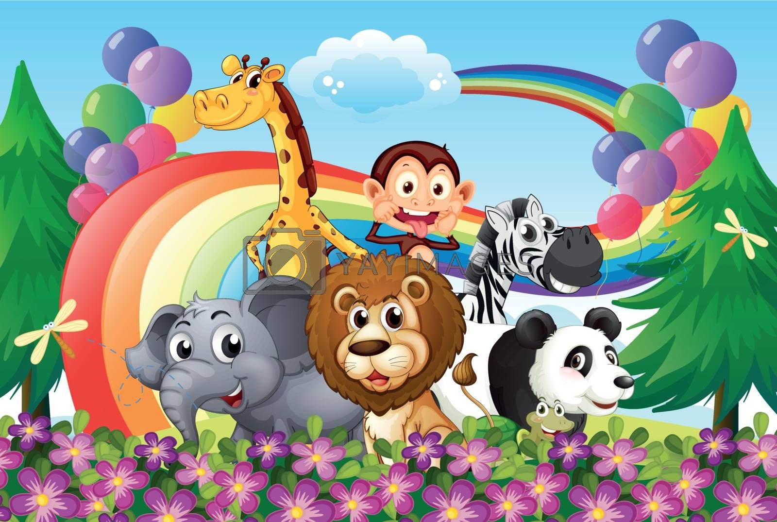 Illustration of a group of animals at the hilltop with a rainbow and balloons