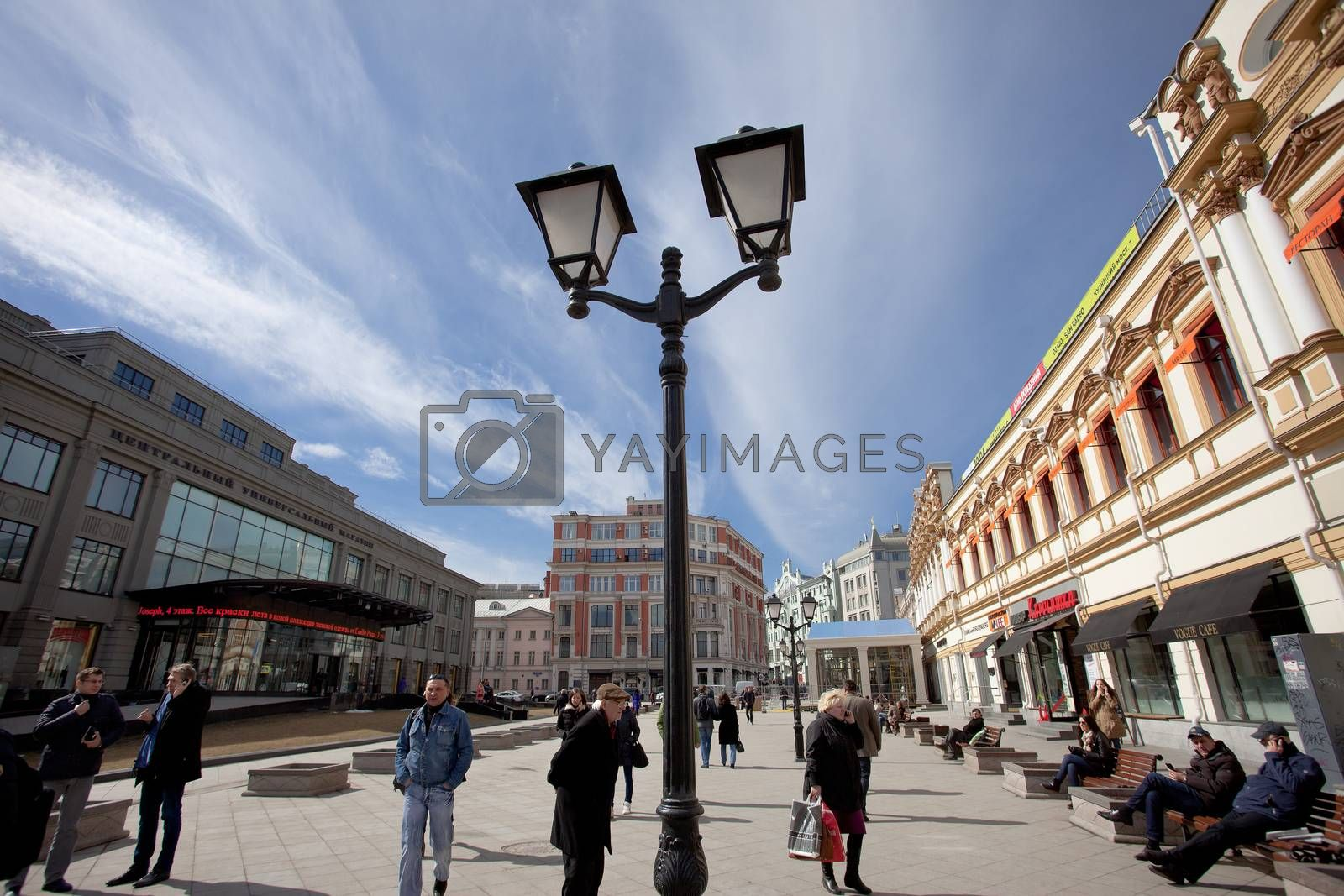 Moscow, Russia, Kuznetsky Most street at spring morning, 2014, april, editorial use only