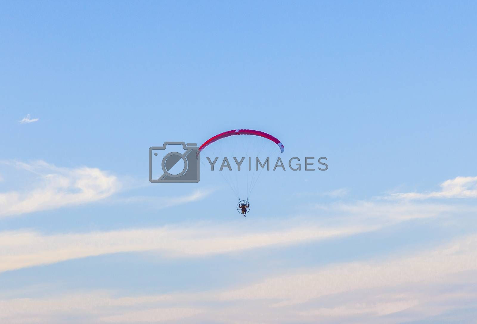 MIAMI, USA - JULY 26: Paraglider flying along the beach on July 26, 2010 in Miami, USA. In the USA powered paragliding is minimally regulated and requires no licence.