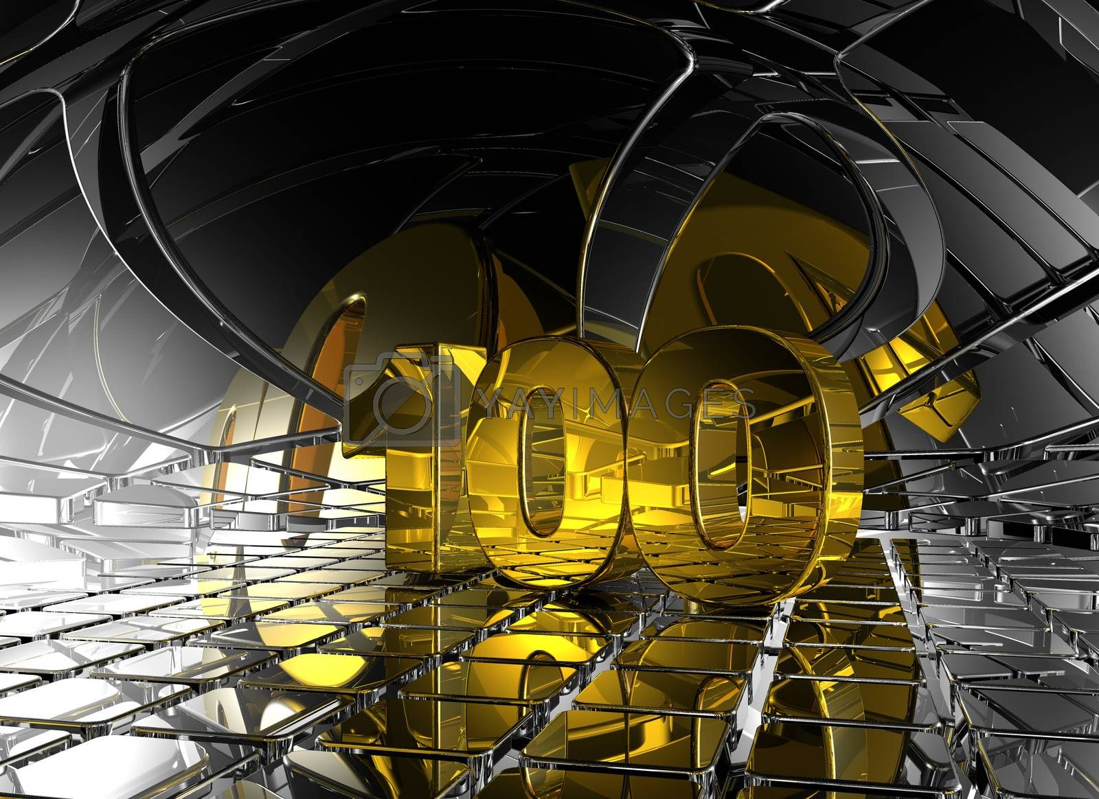 number one hundred in abstract futuristic space - 3d illustration