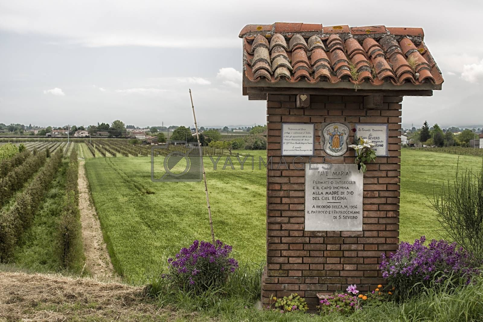 Votive monument to the Blessed Virgin Mary in the countryside near Cotignola in Italy