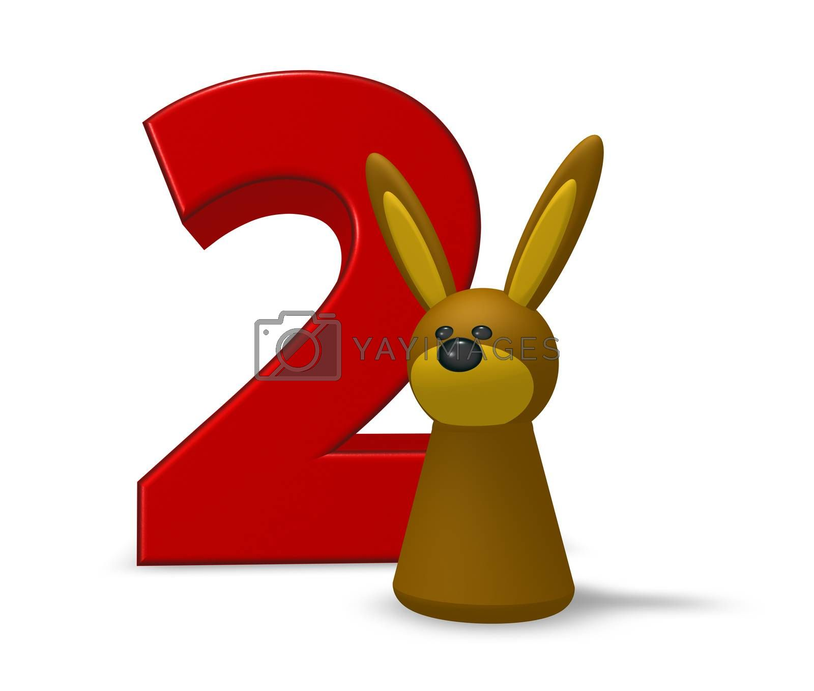 number two and rabbit - 3d illustration