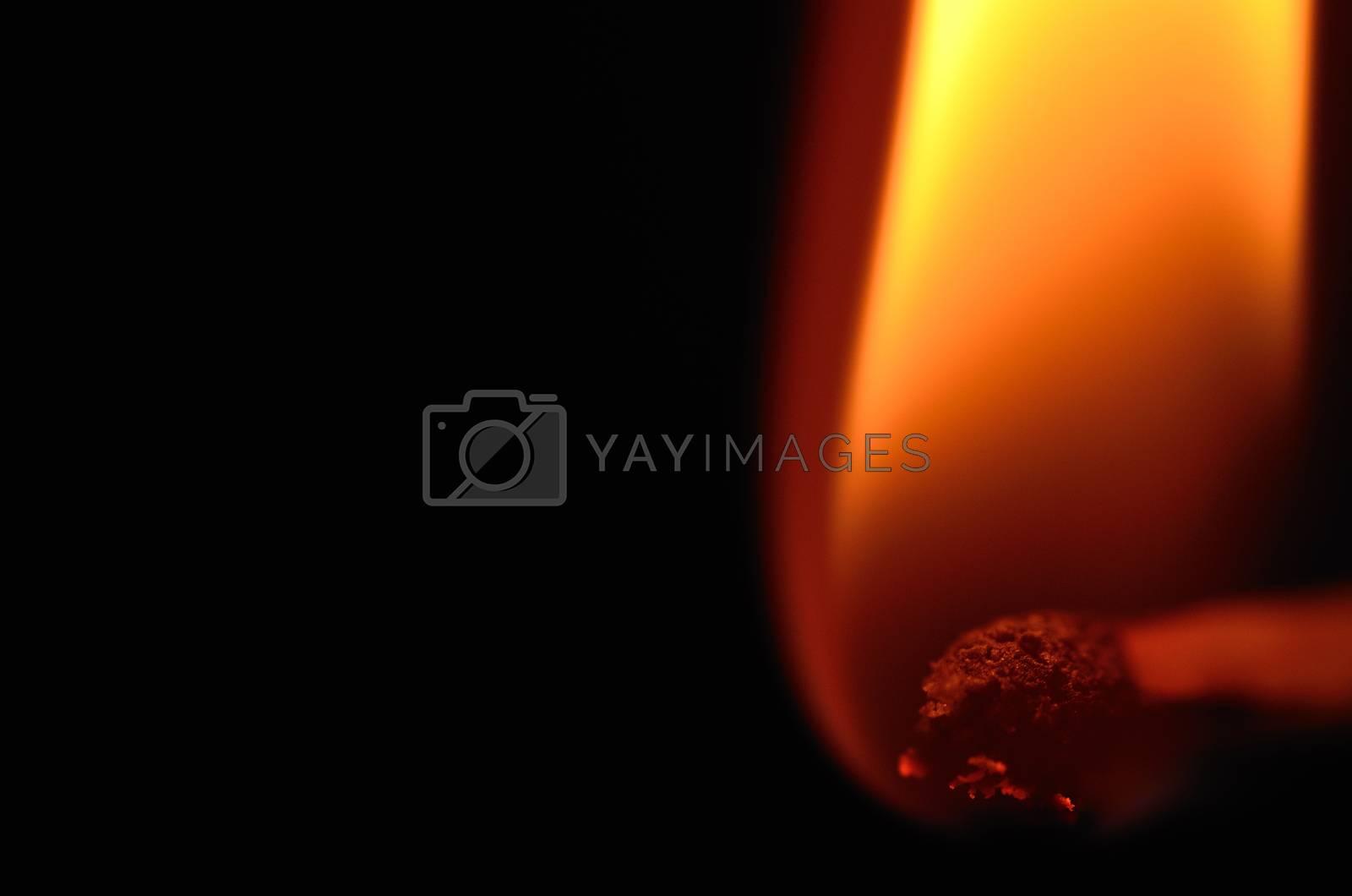 bright orange hot flame of match very close