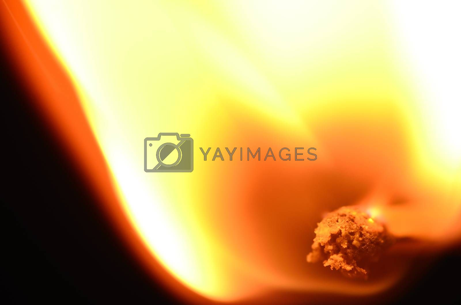 hot bright flame of match close up