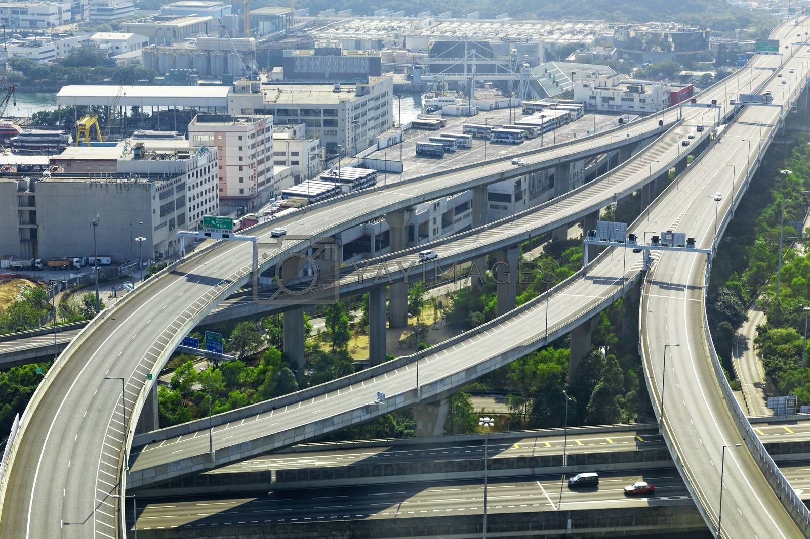 aerial view of the city overpass in early morning by cozyta