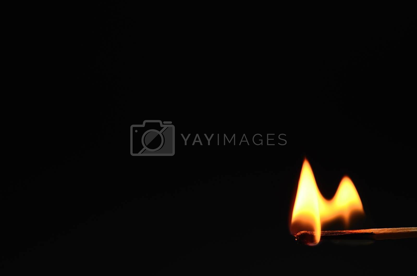match burning with black background
