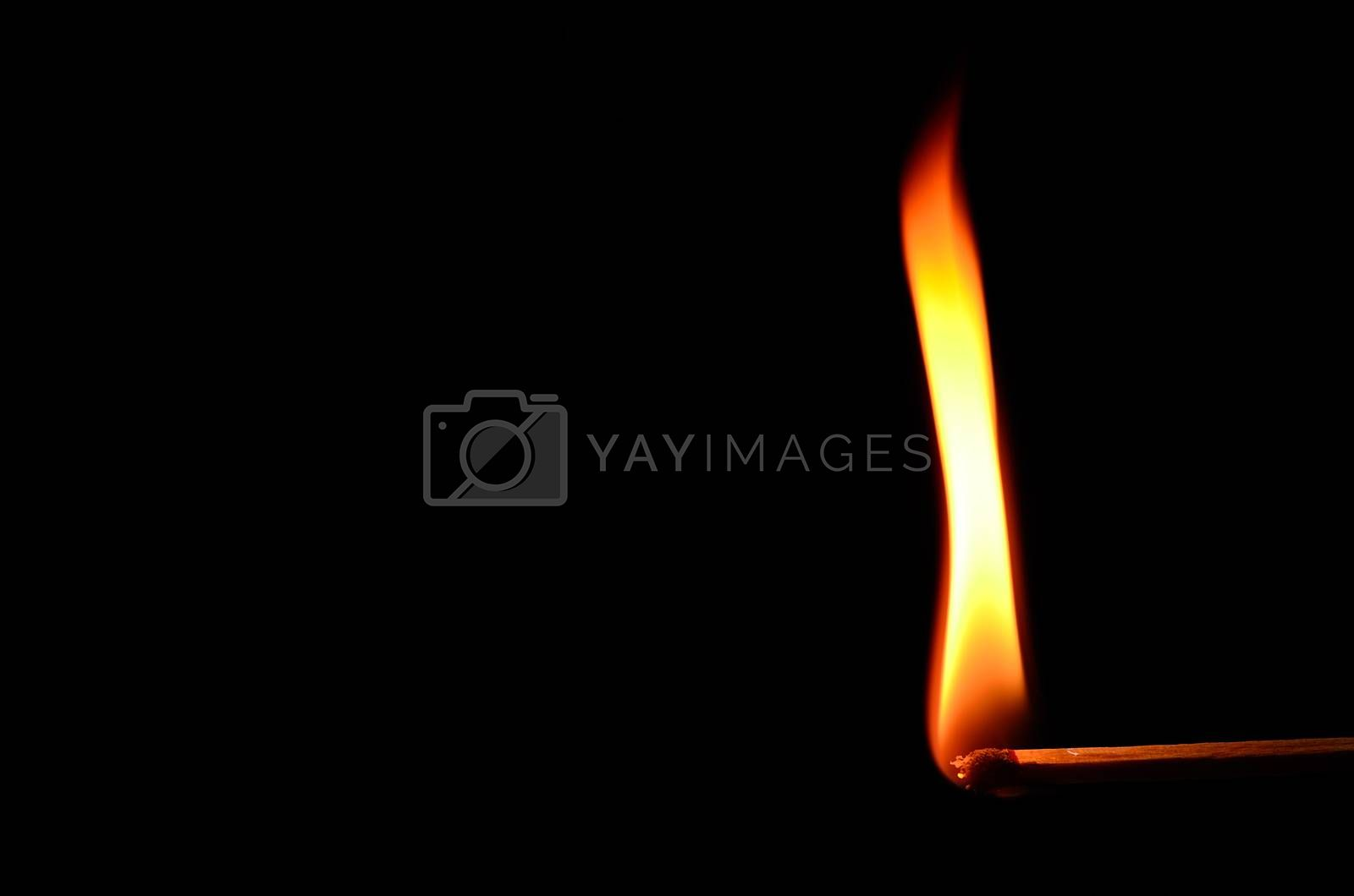 match with high flame on black background