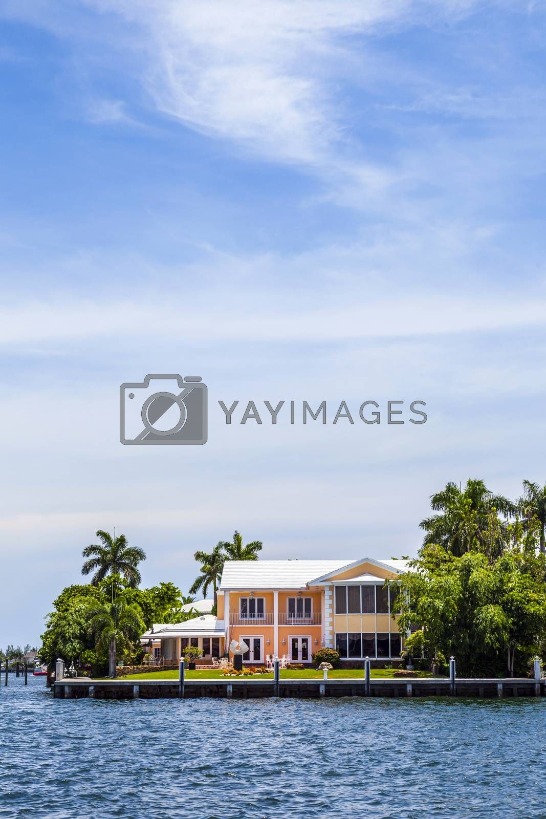view to beautiful houses from the canal in Fort Lauderdale by meinzahn
