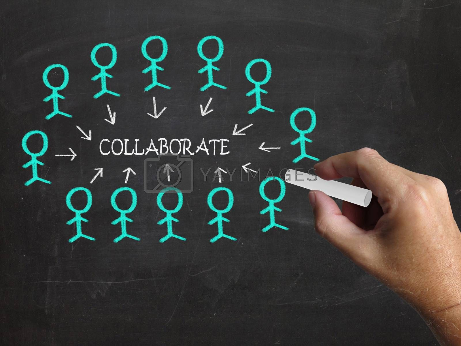 Collaborate On Blackboard Means Business Teamwork Or Collaborati by stuartmiles