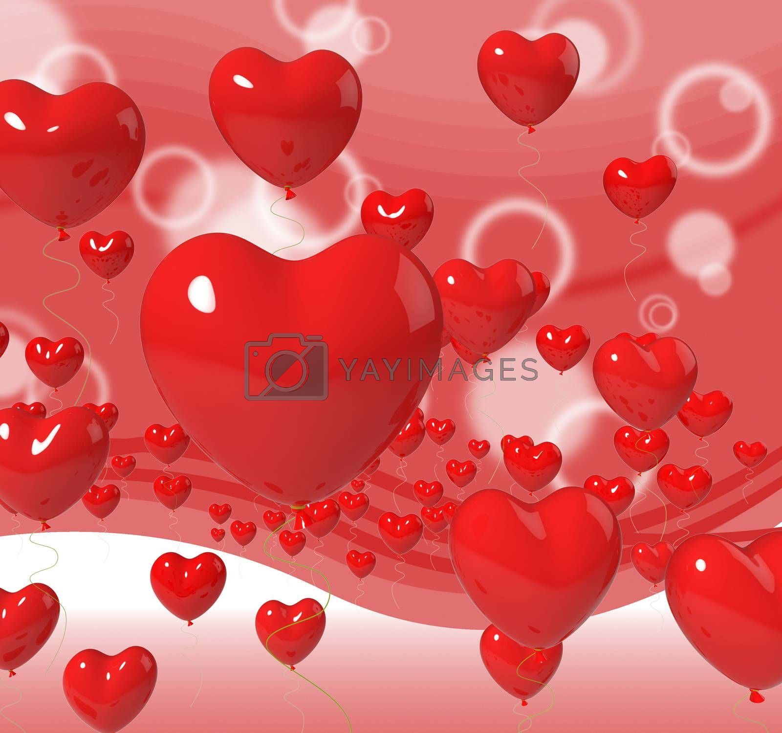 Heart Balloons On Background Meaning Passion Love And Romance