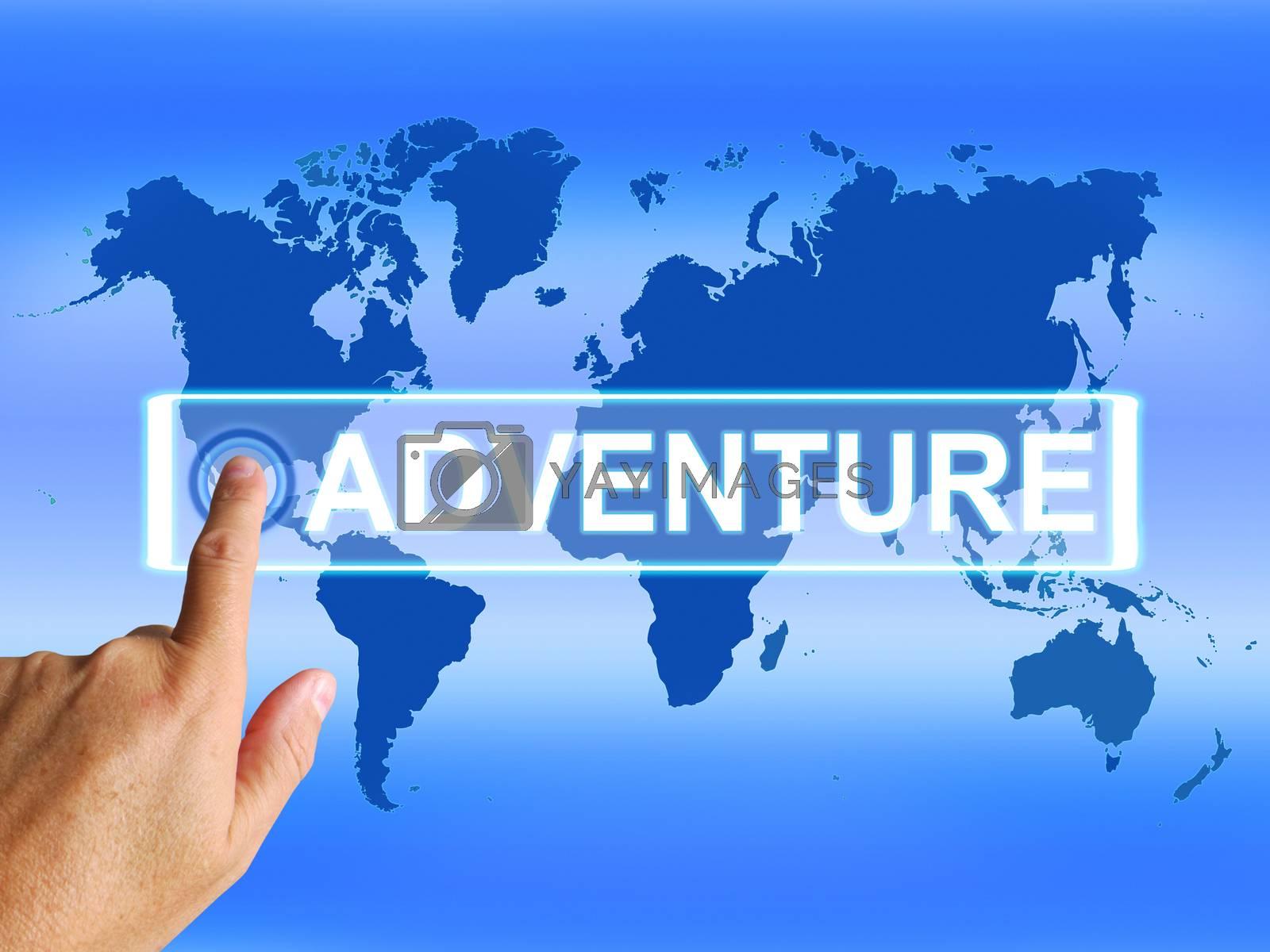Adventure Map Represents International or Worldwide Adventure an by stuartmiles