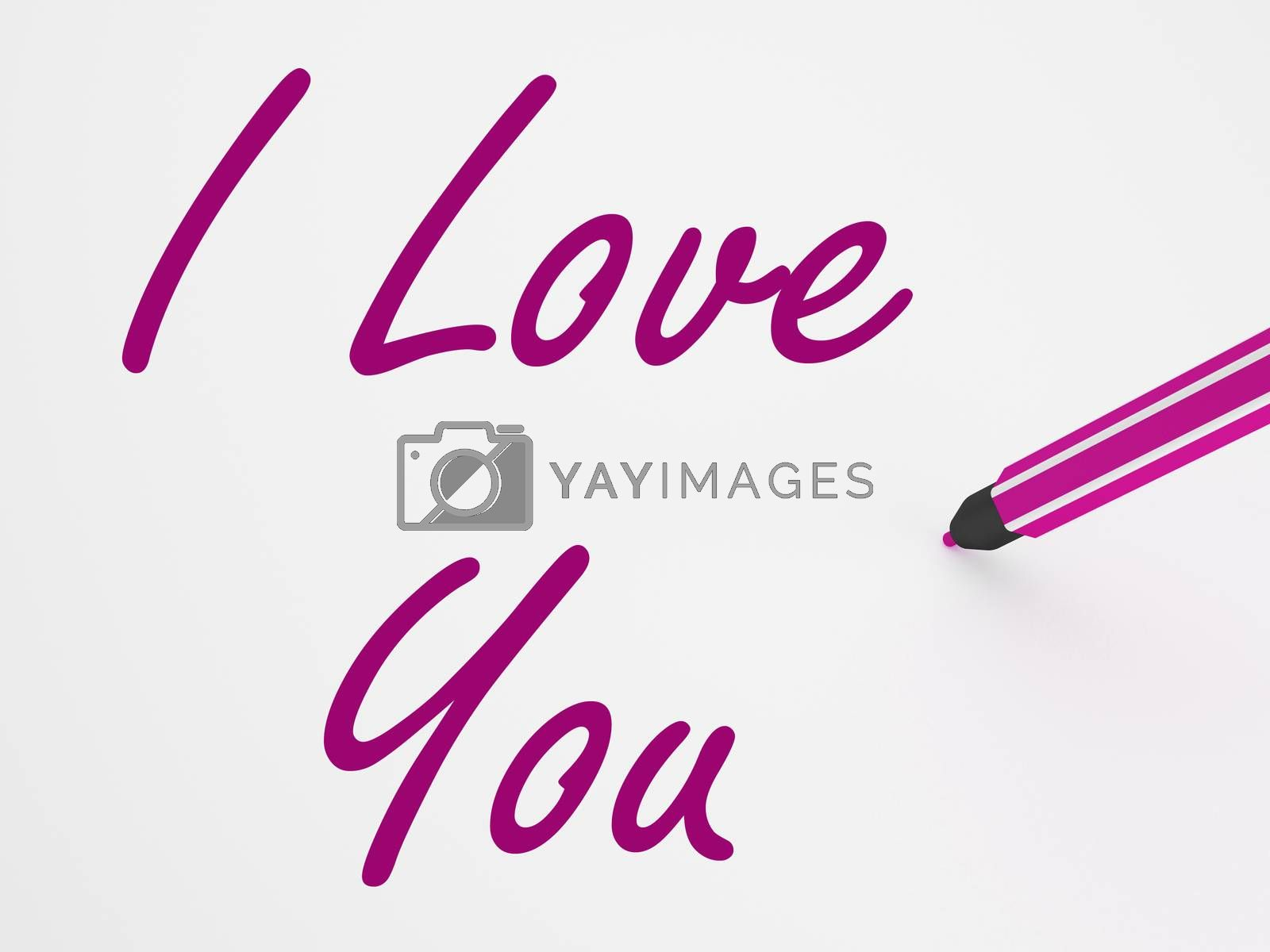 I Love You On Whiteboard Showing Dating Loving And Romance