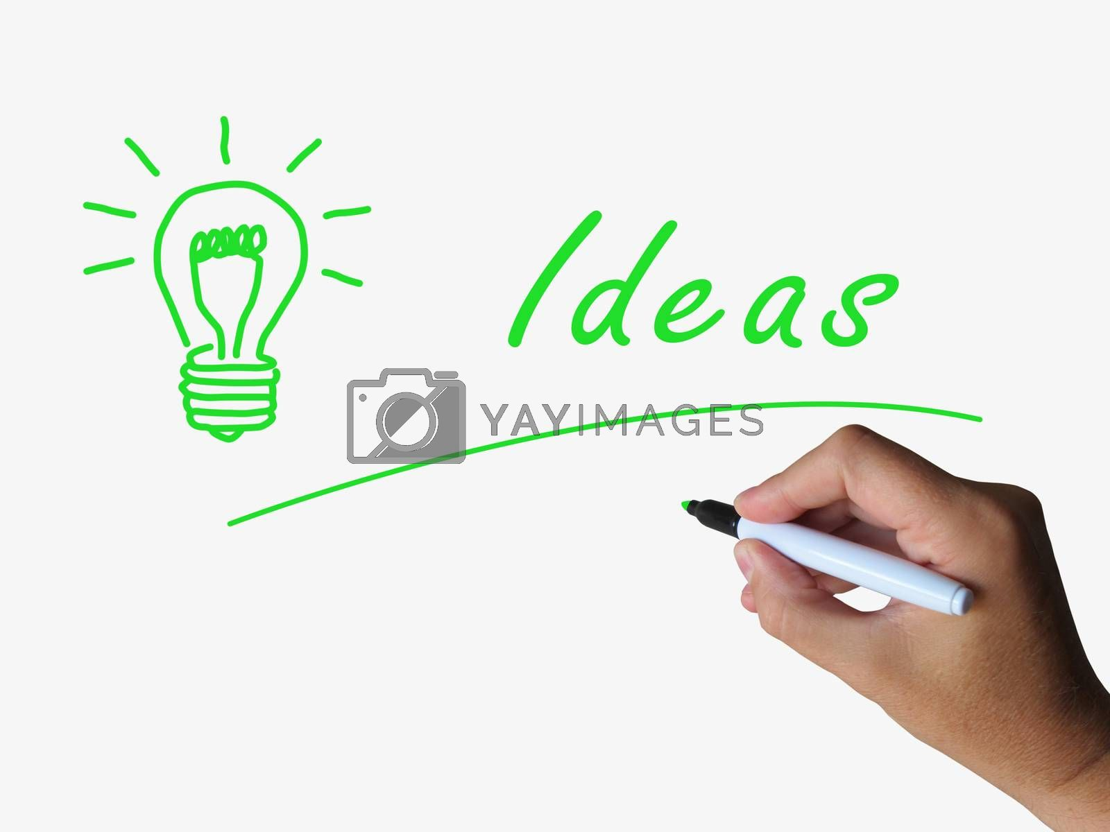 Ideas and Lightbulb Indicate Bright Idea and Concepts by stuartmiles