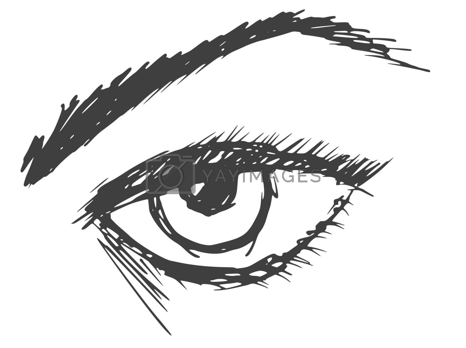 hand drawn, cartoon, sketch illustration of an eye
