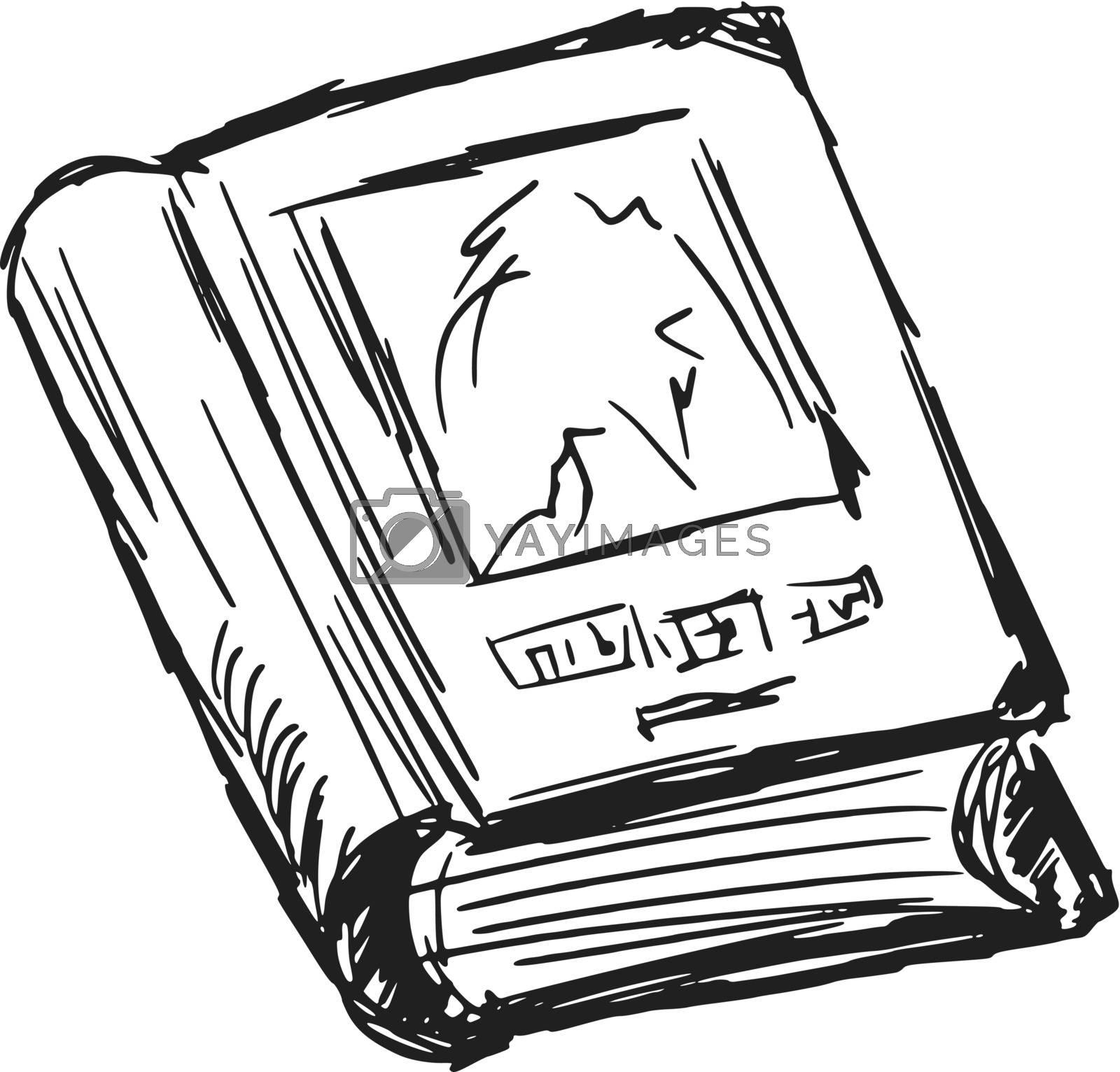 hand drawn, sketch, cartoon illustration of old book