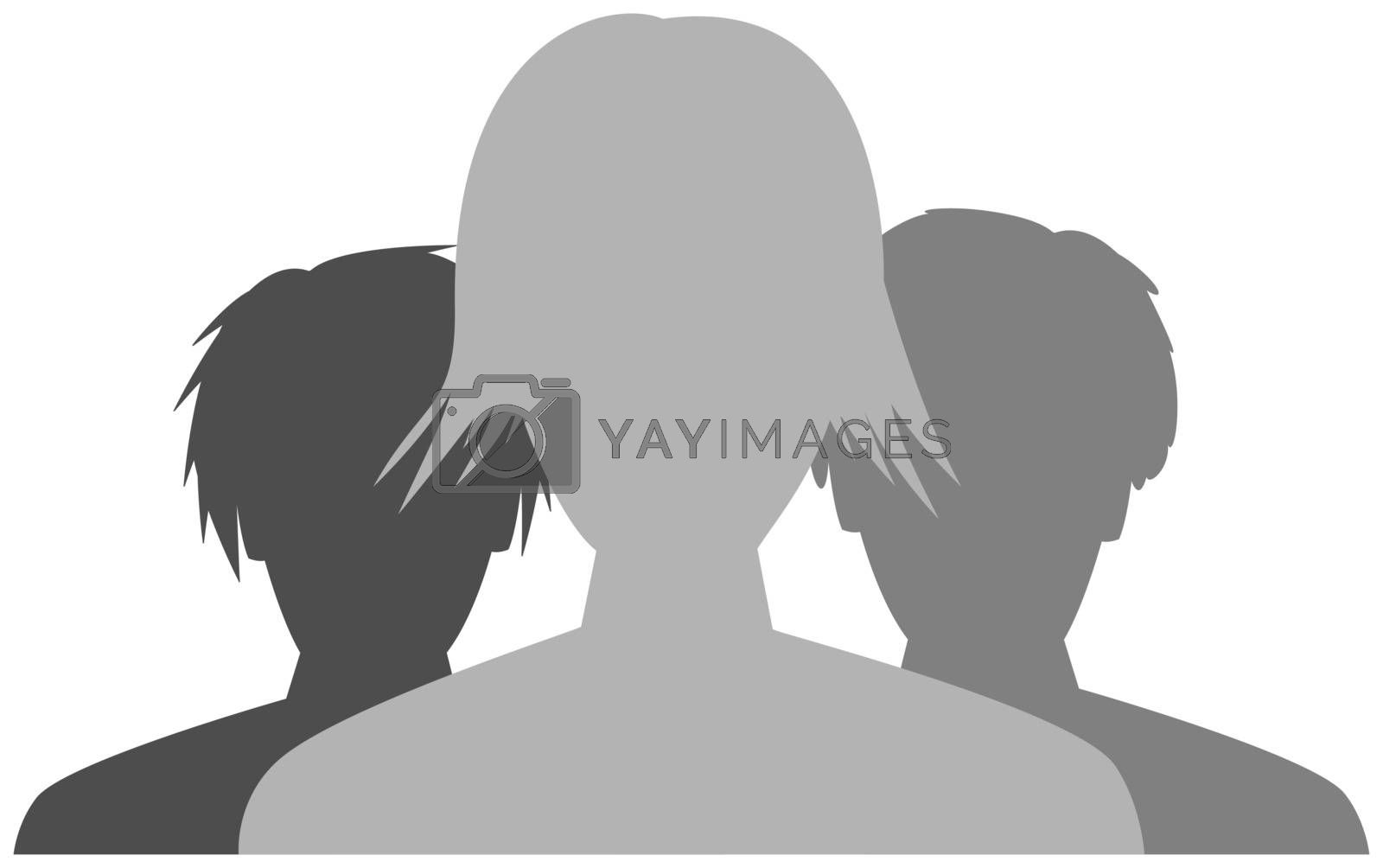 the silhoutte of team consists of three people