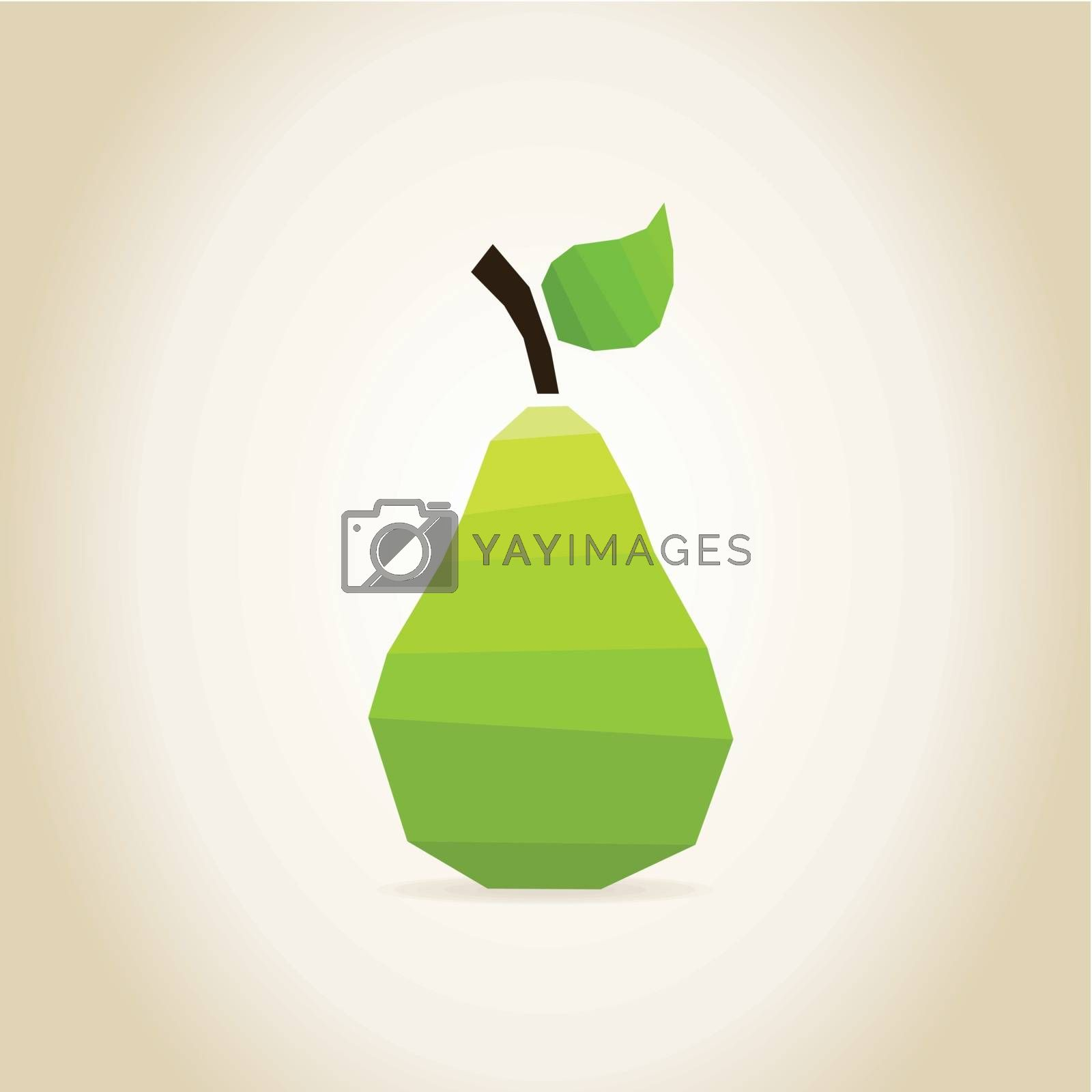 Green pear on a grey background