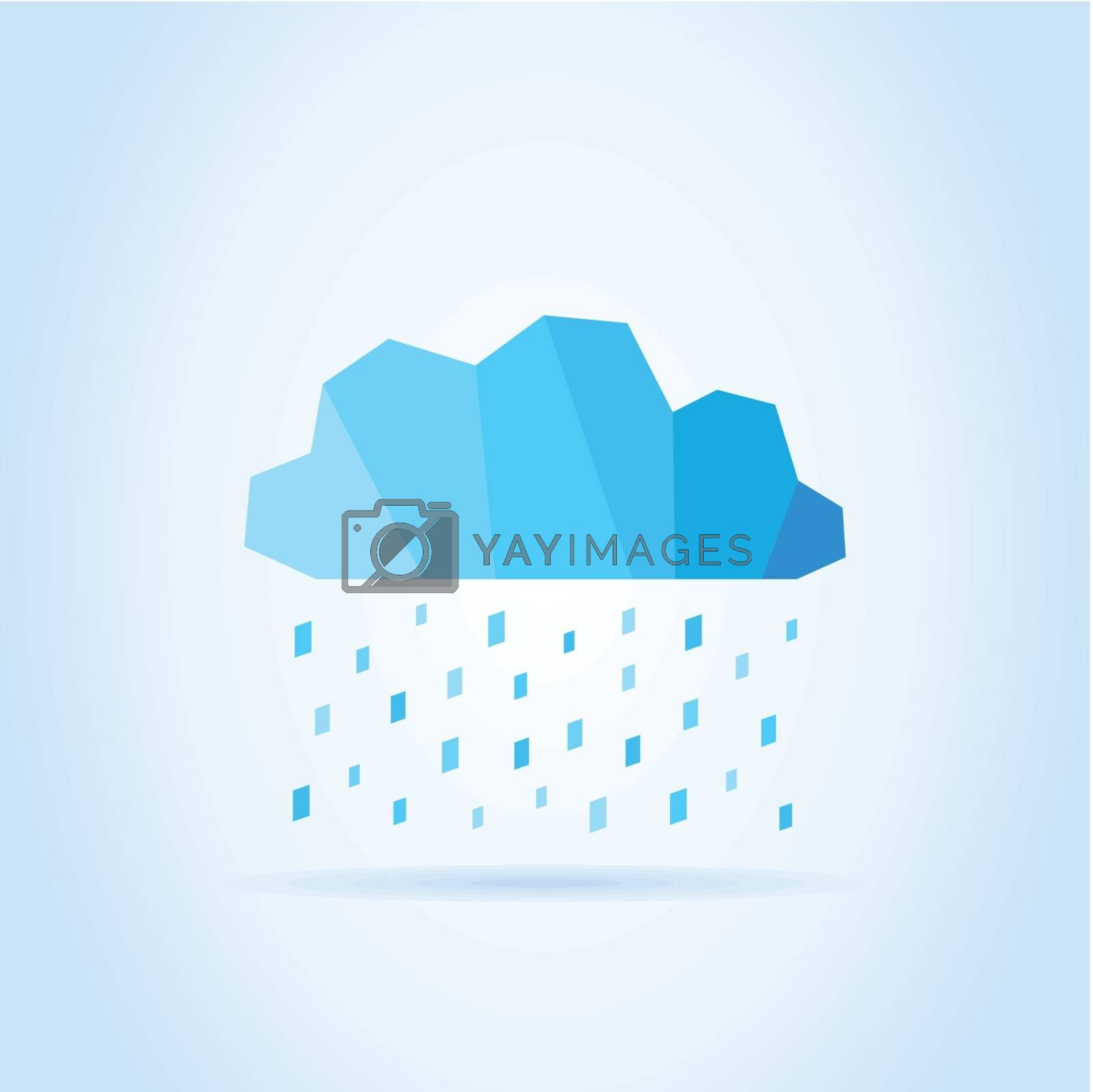 Rain of a drop of water from a blue cloud