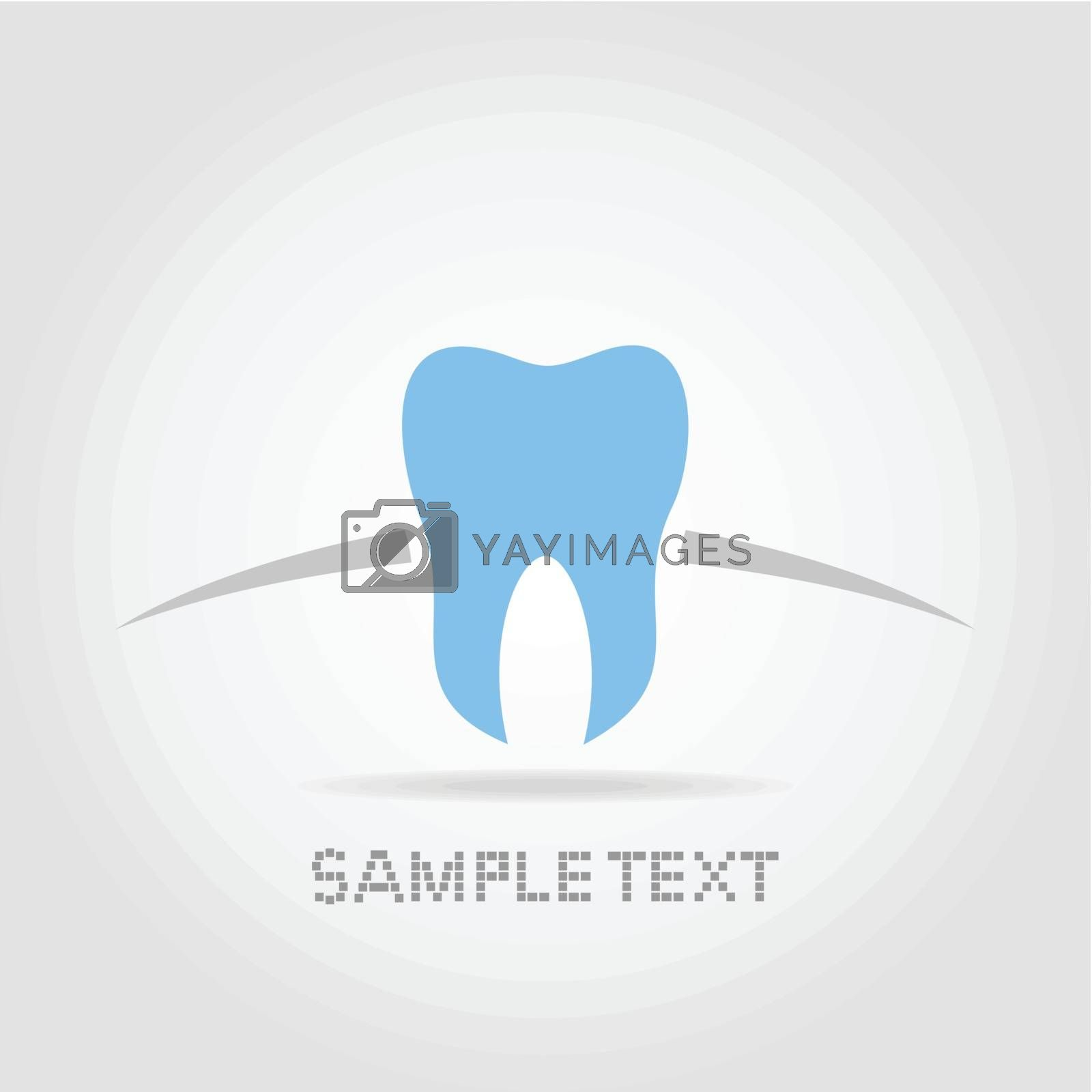 Blue tooth of the person on a grey background