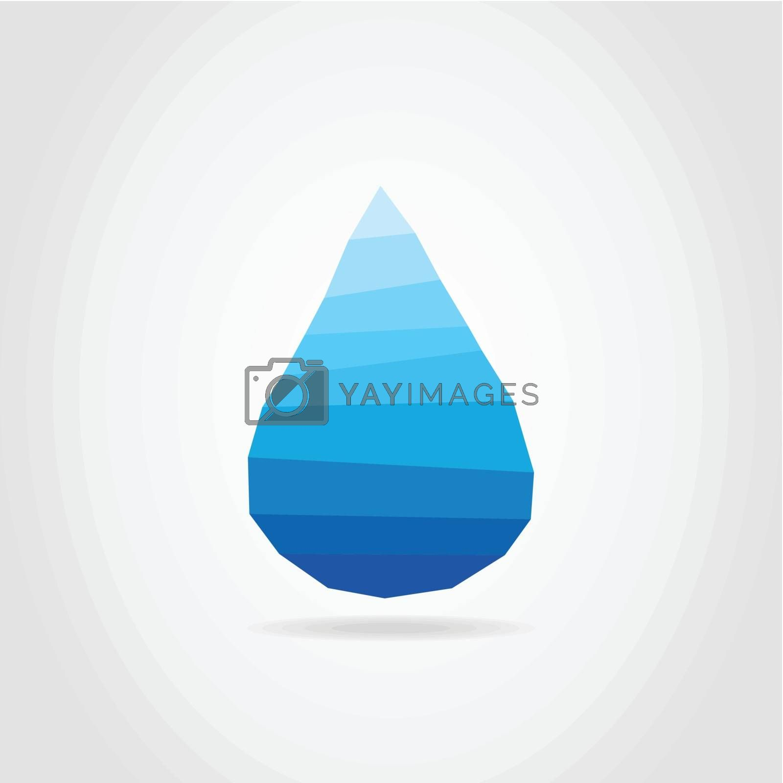 Blue drop of water on a grey background