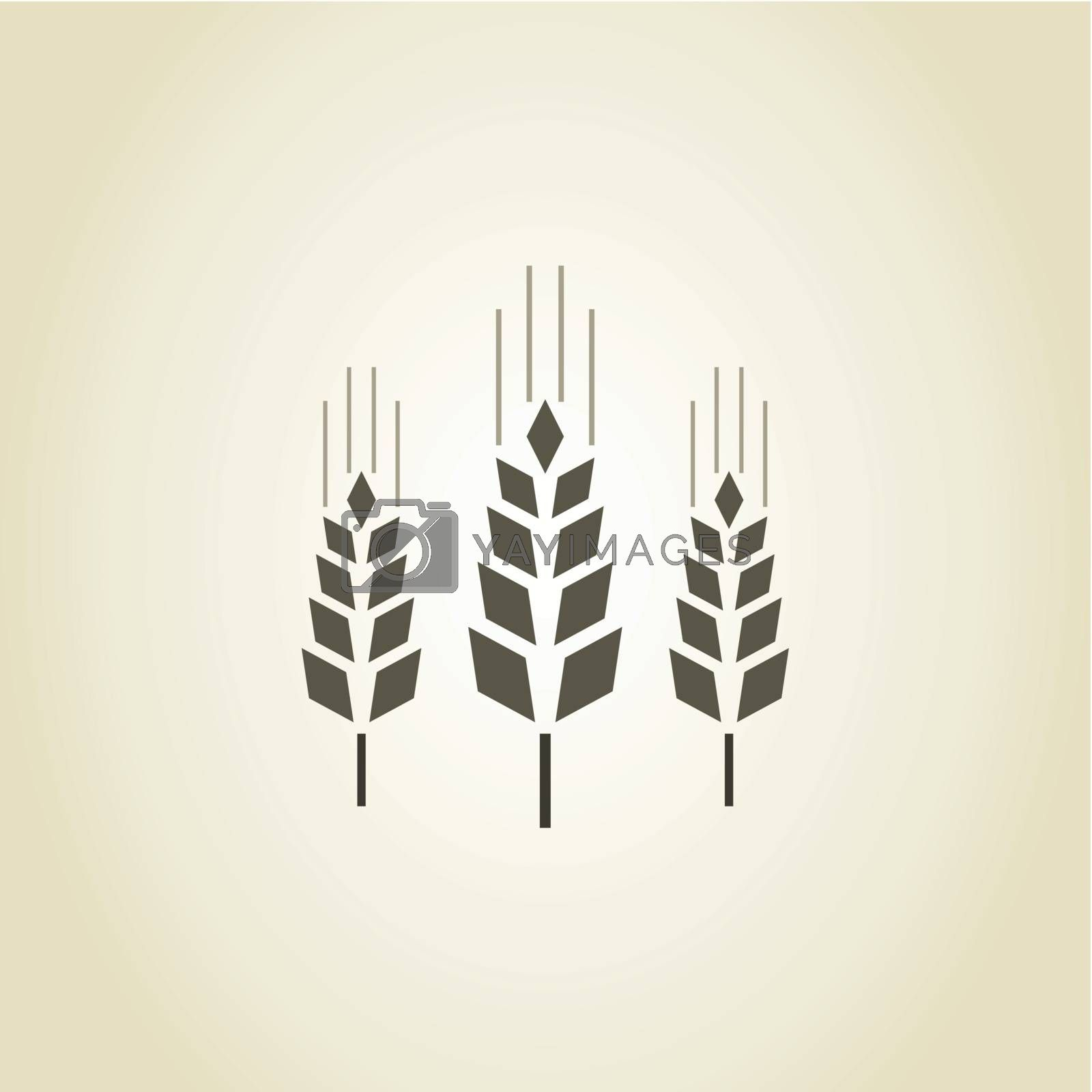 Three ears of wheat in agriculture