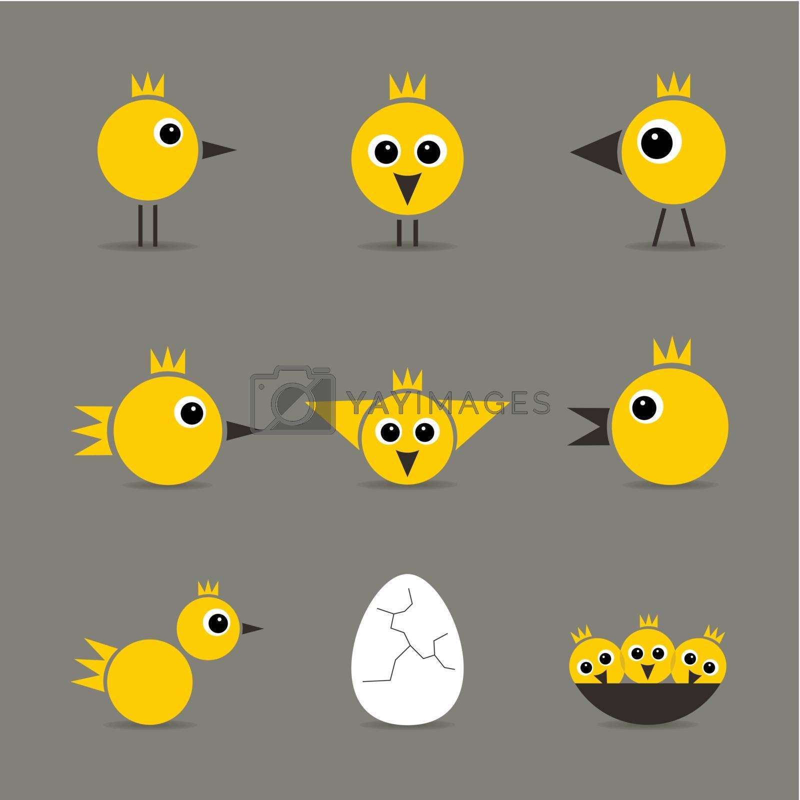 Set of yellow baby birds of hens of birds