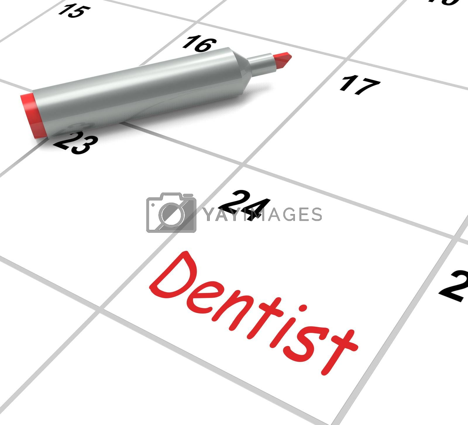 Dentist Calendar Showing Oral Health And Dental Appointment