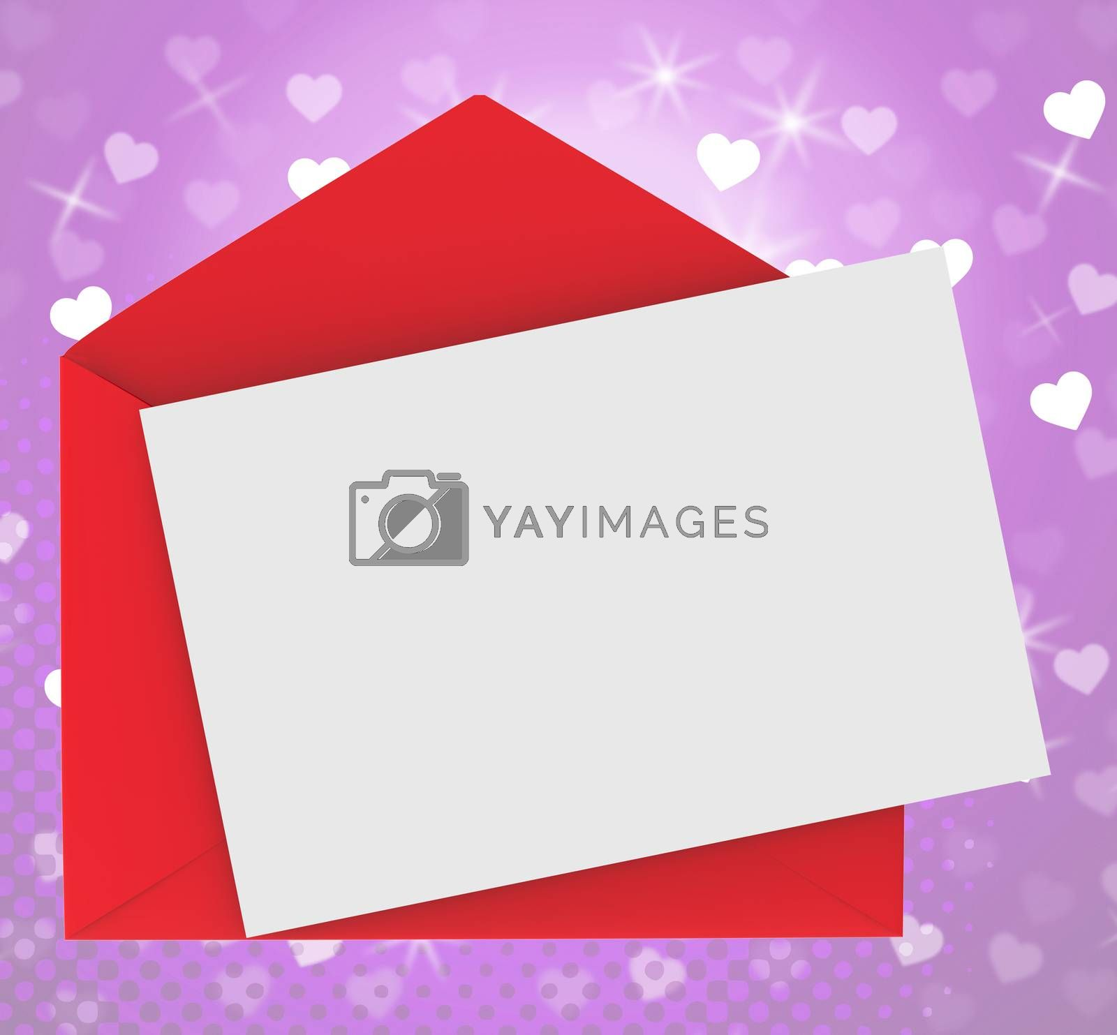 Red Envelope With Note card Showing Romance Dating And Love