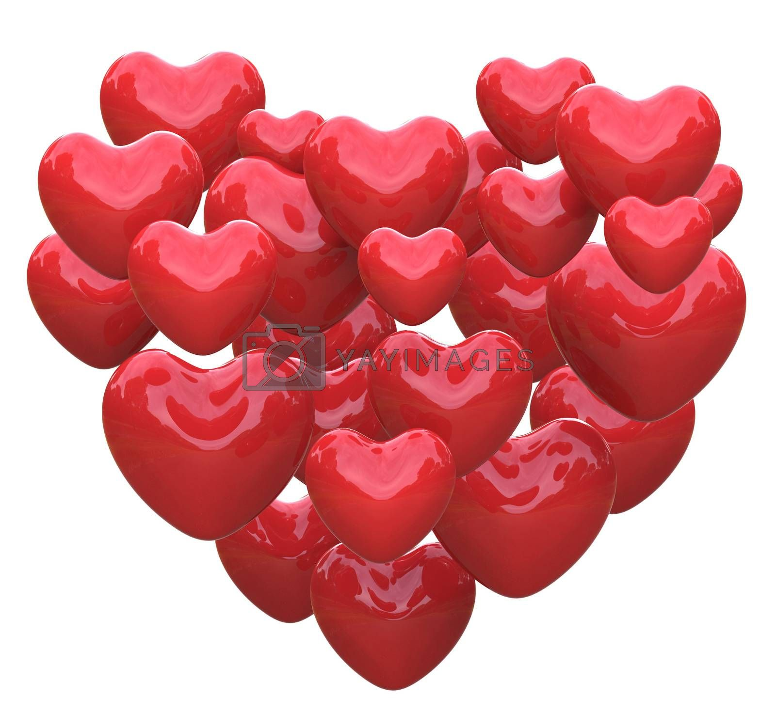 Heart Made With Hearts Showing Romance Love And Passion