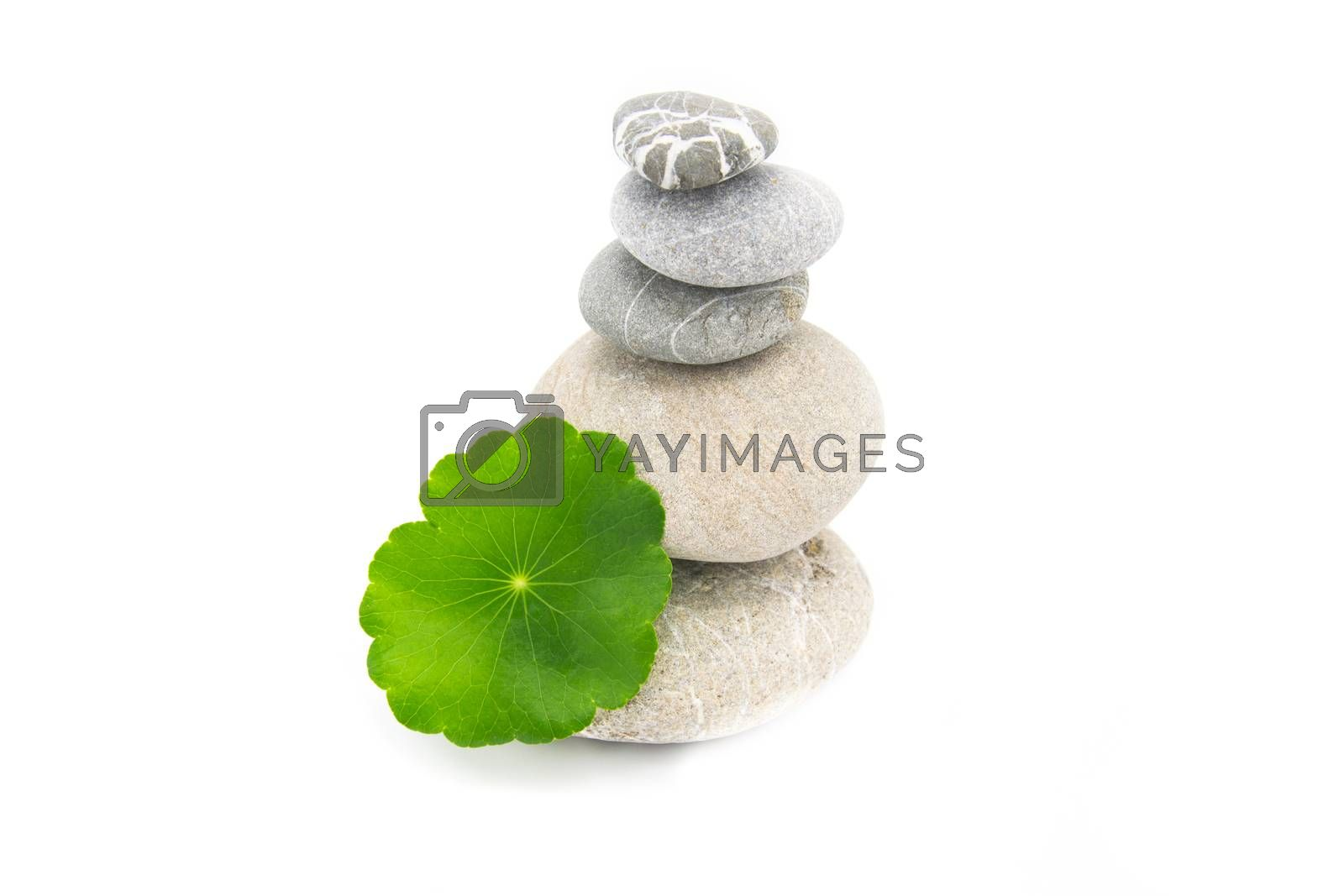 Stack stones spa concept on white isolated.