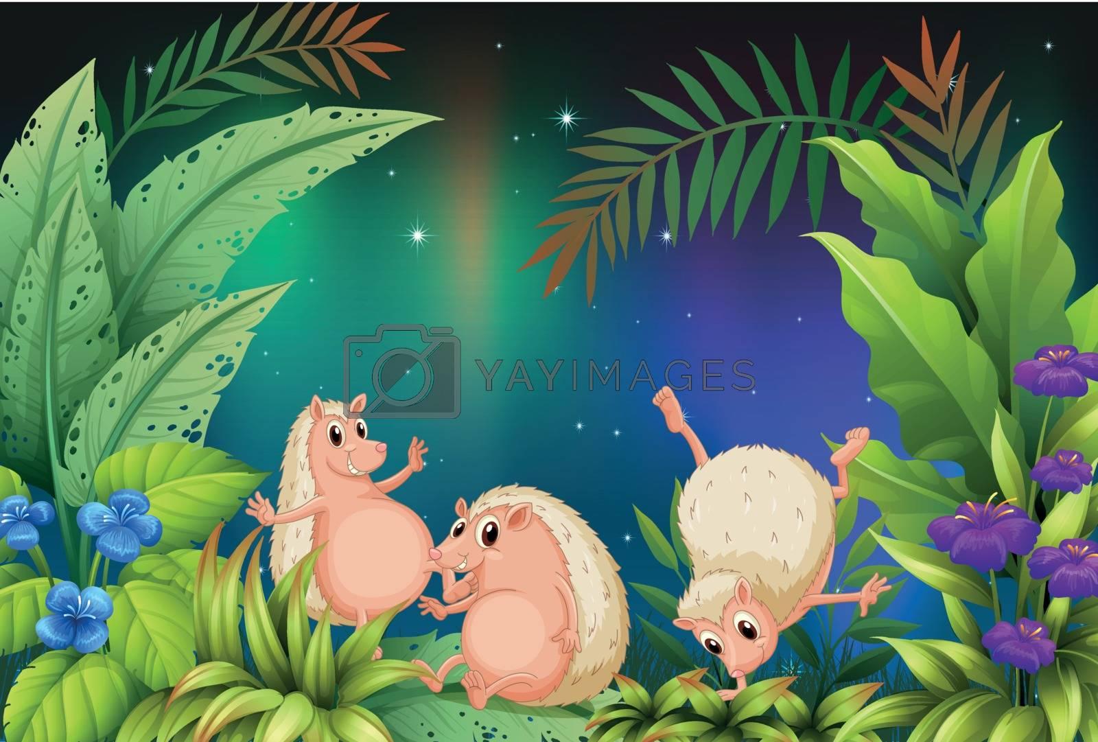 Illustration of three wild animals playing in the garden