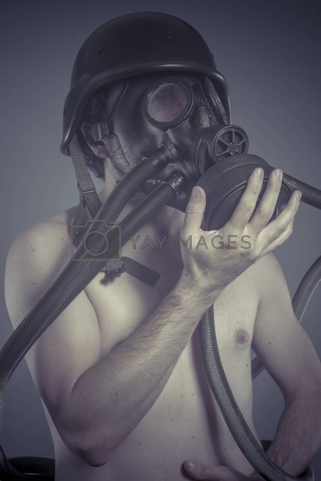 Nuclear, Man with black gas mask, pollution concept and ecological disaster
