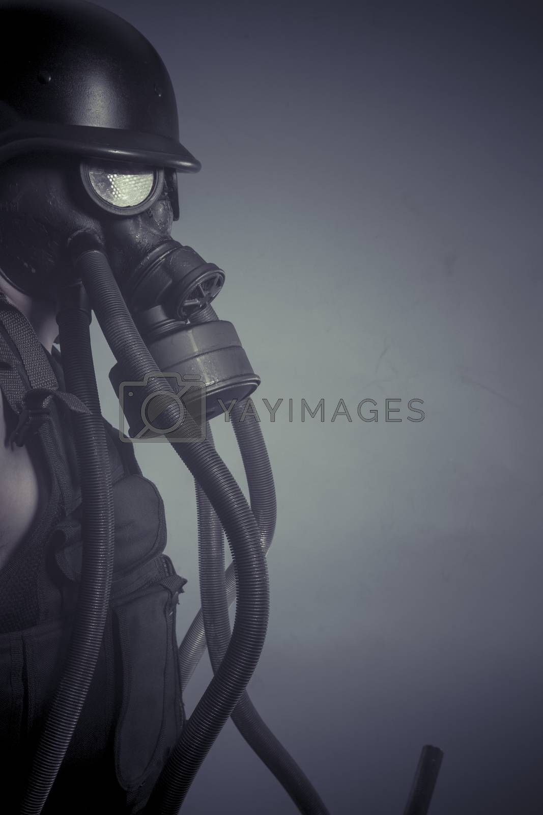 Protection, Man with black gas mask, pollution concept and ecological disaster