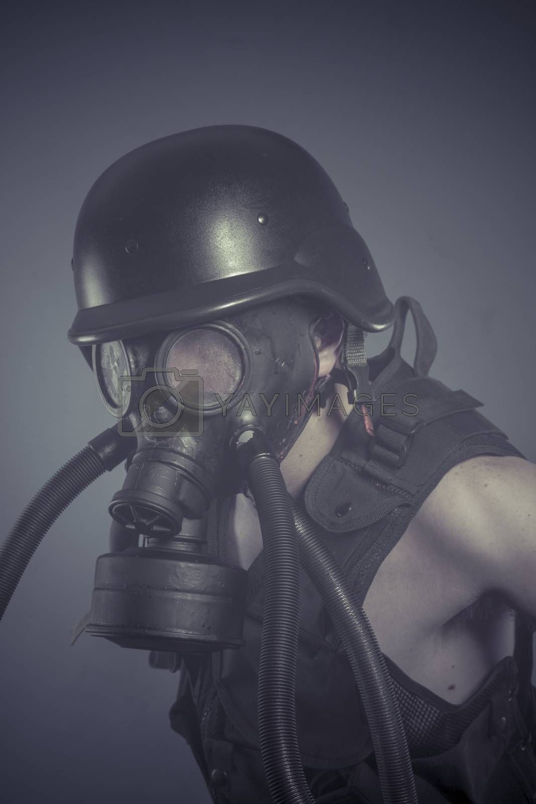 Factory, Man with black gas mask, pollution concept and ecologic by FernandoCortes