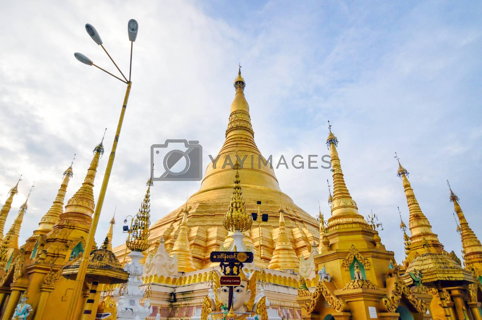 Shwedagon Paya in Yangon ,Myanmar  by siraanamwong