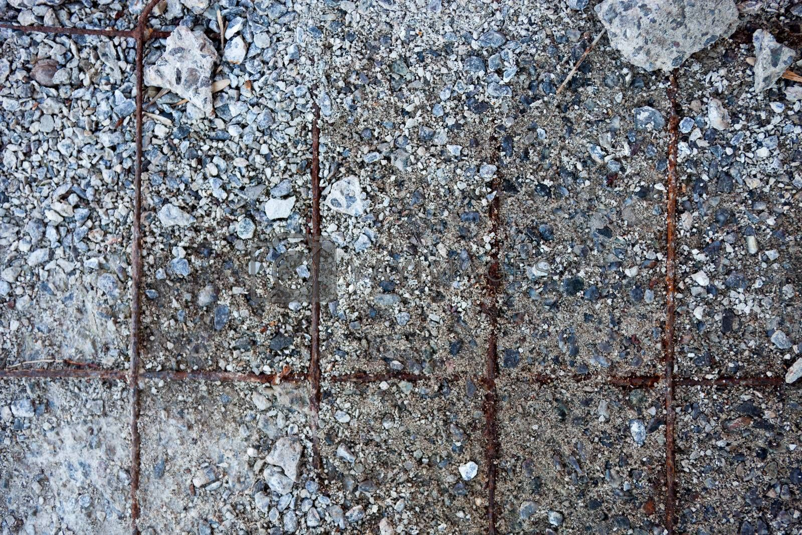 Grey concrete surface with visible reinforcement and crushed sto by rootstocks