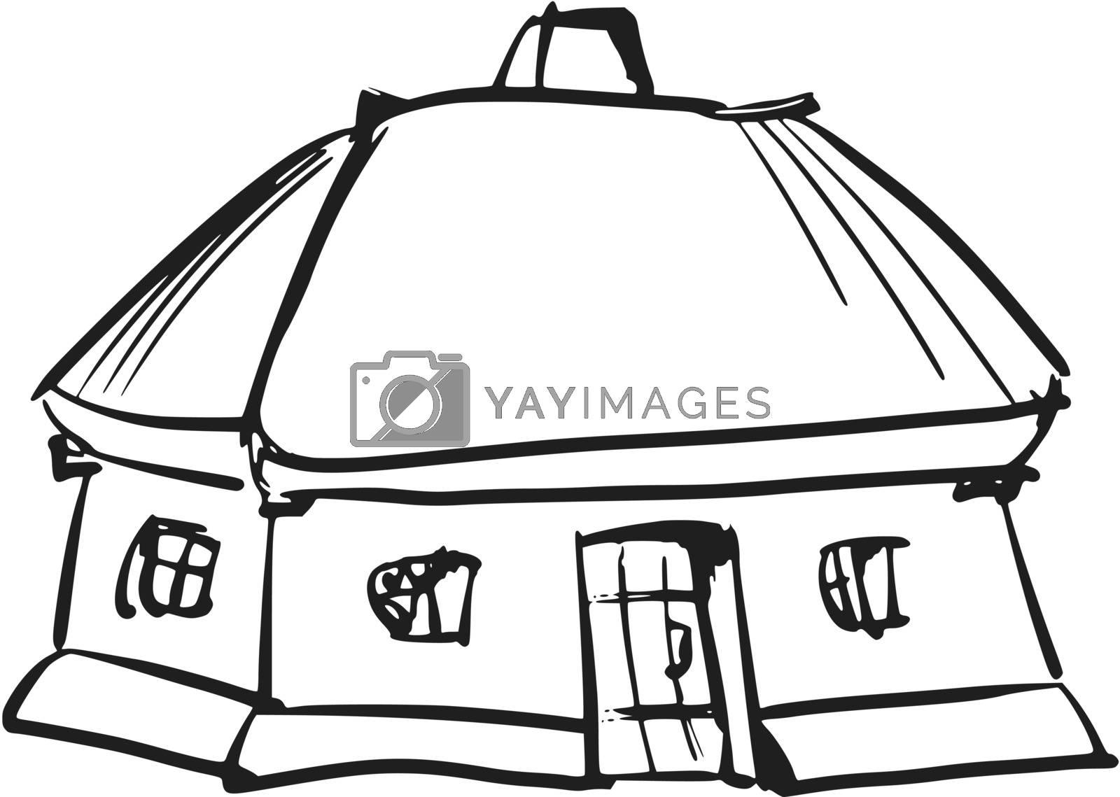 hand drawn, sketch, cartoon illustration of Ukrainian house