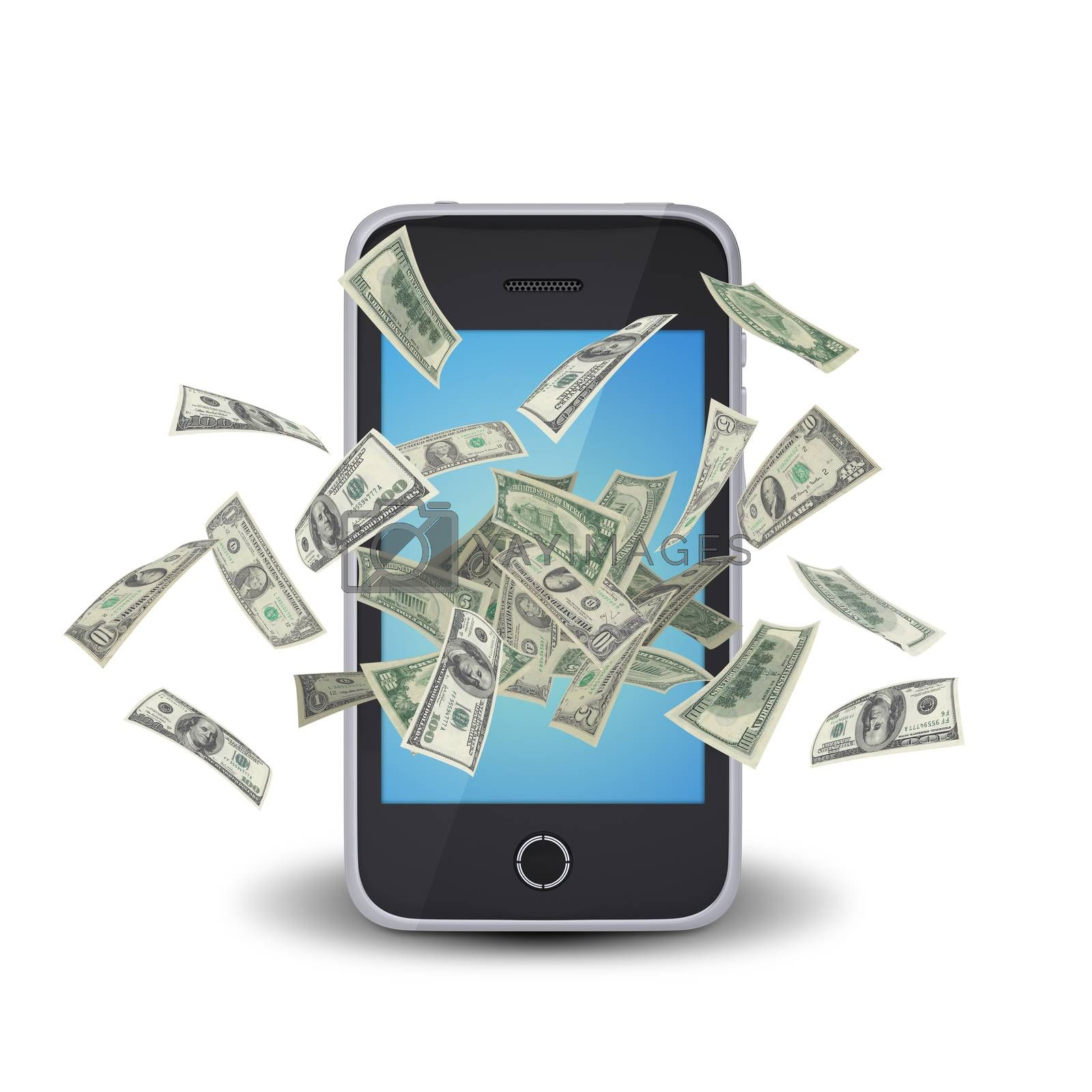 Dollar notes flying around the smart phone by cherezoff
