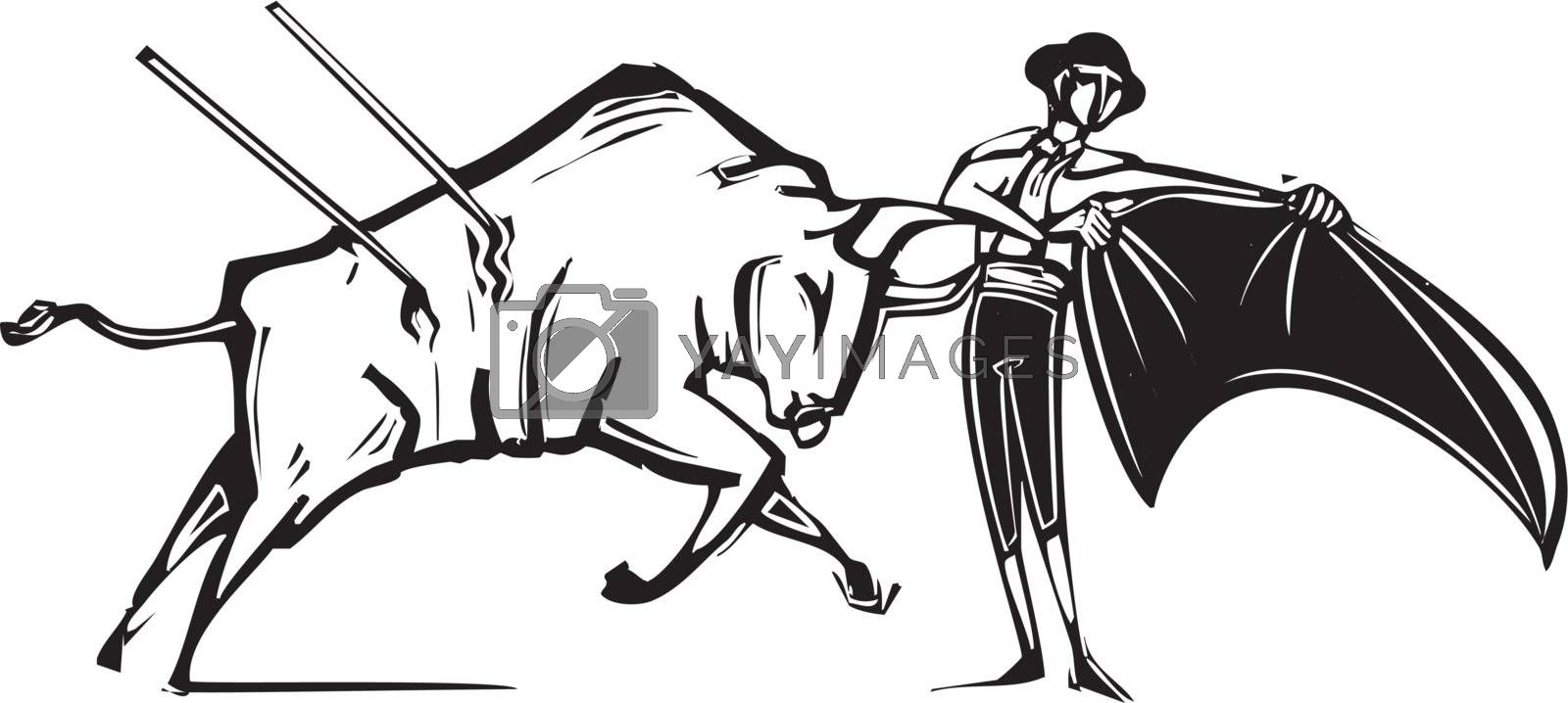 Woodcut style image of a matador and a wounded bull in a bullfight